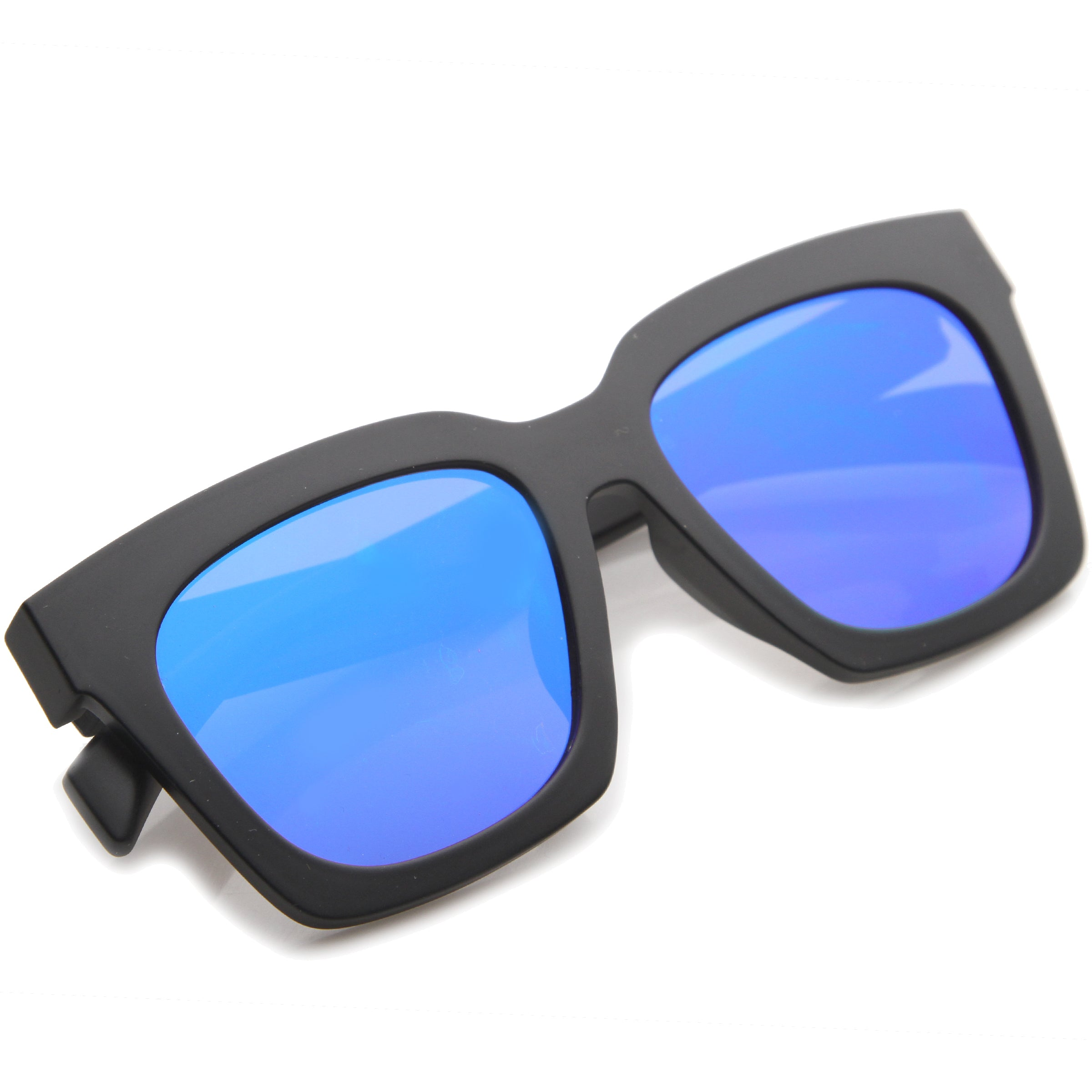 Retro Matte Horn Rimmed Colored Mirror Flat Lens Oversize Square Sunglasses 54mm - sunglass.la - 20