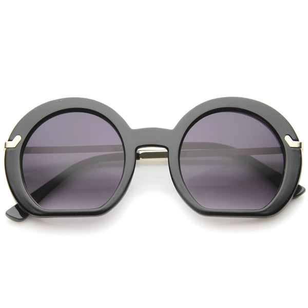 Women's High Fashion Flat Bottom Oversize Round Sunglasses 50mm - sunglass.la - 1