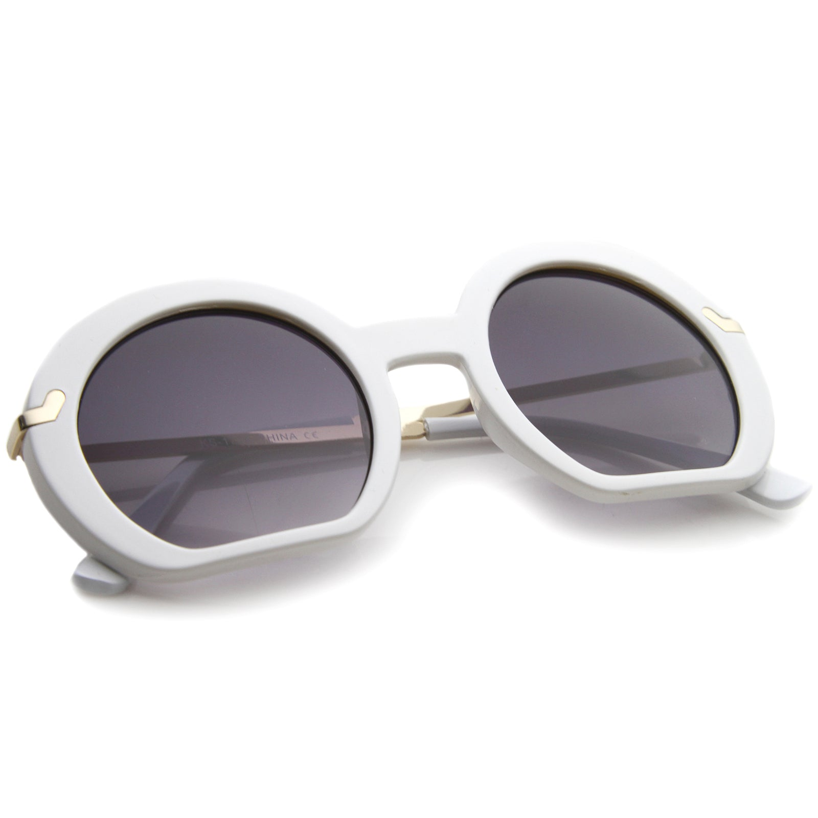 Women's High Fashion Flat Bottom Oversize Round Sunglasses 50mm - sunglass.la - 12