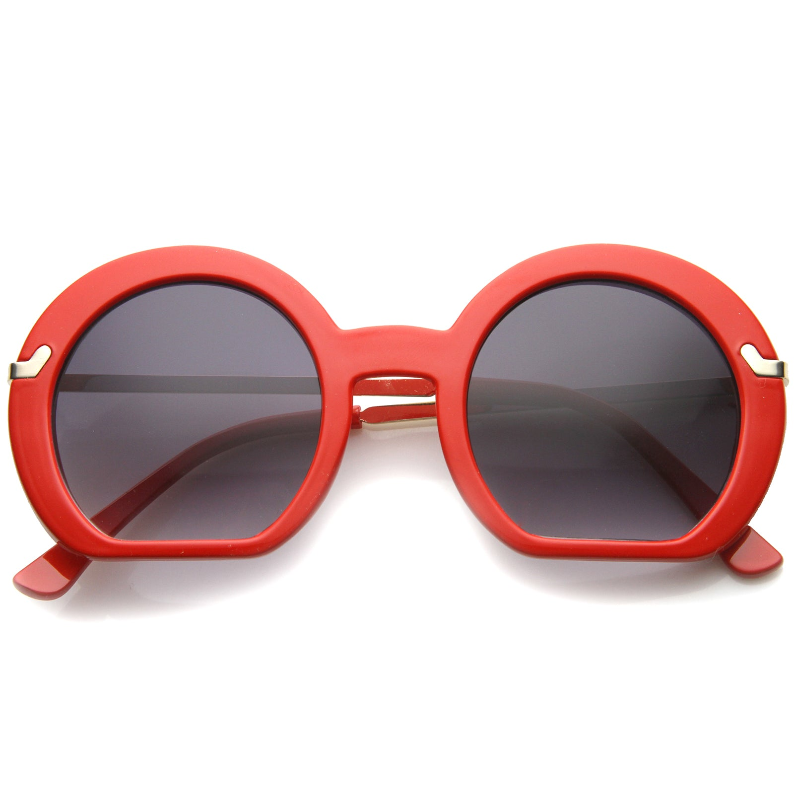 Women's High Fashion Flat Bottom Oversize Round Sunglasses 50mm - sunglass.la - 13