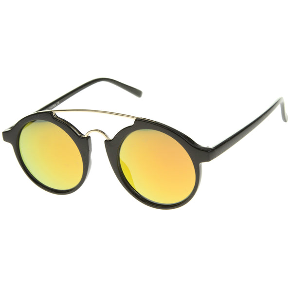 Modern Metal Brow Bar Iridescent Colored Mirror Round Sunglasses 46mm - sunglass.la - 1