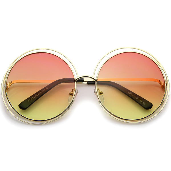 Oversize Wire Frame Gradient Two-Tone Color Lens Round Sunglasses 61mm - sunglass.la - 1