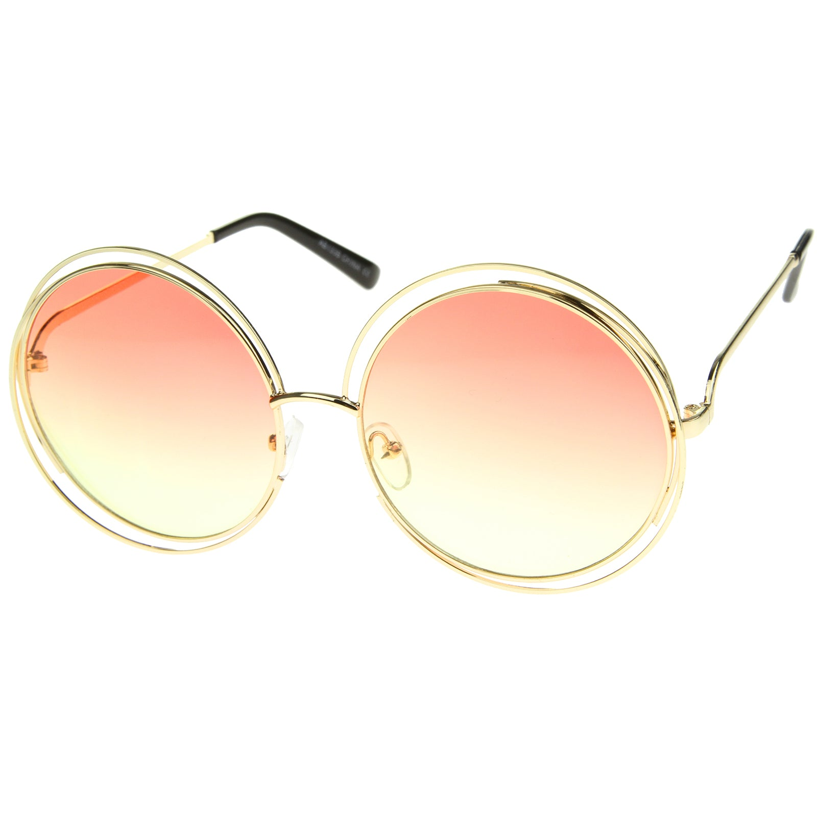 Oversize Wire Frame Gradient Two-Tone Color Lens Round Sunglasses 61mm - sunglass.la - 2