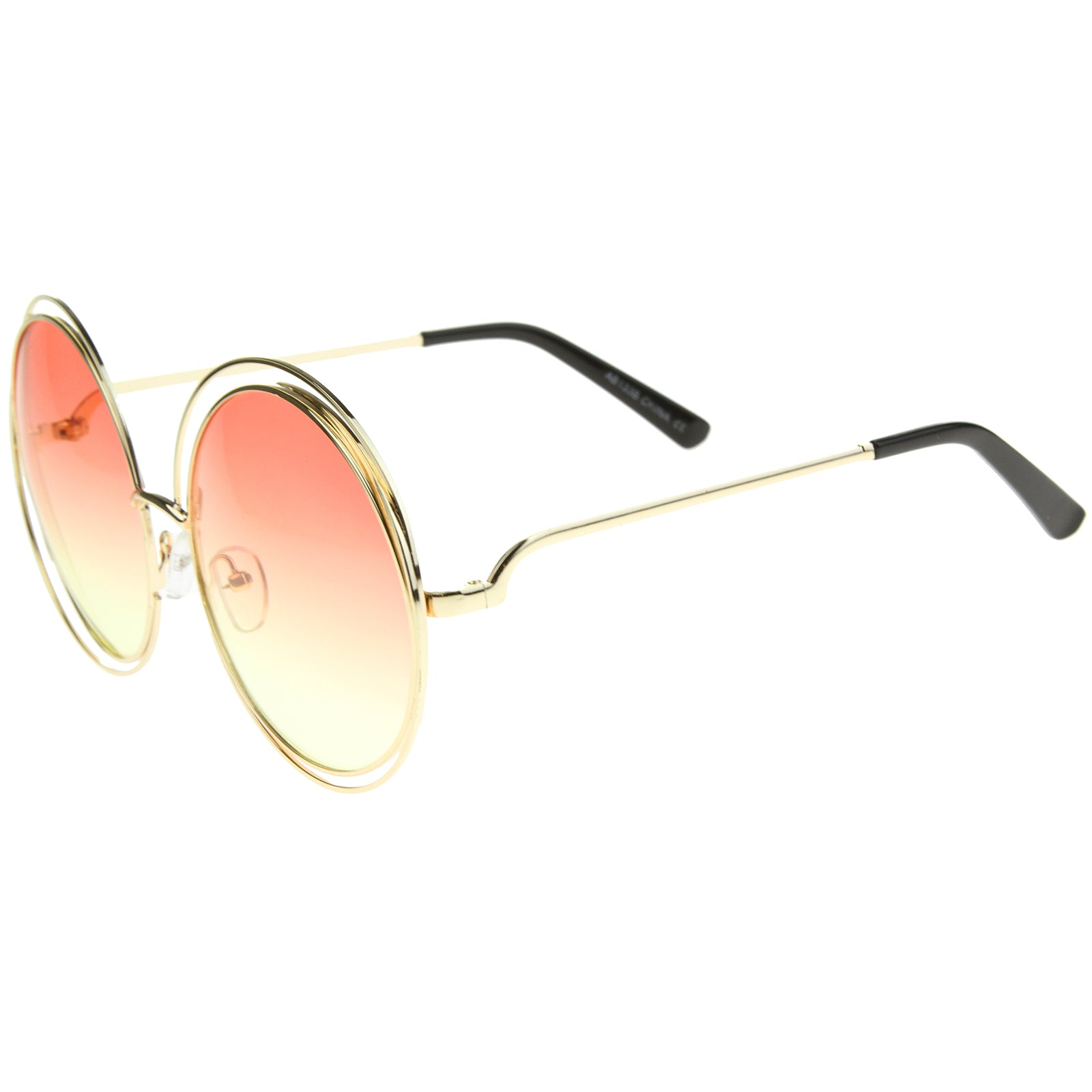 Oversize Wire Frame Gradient Two-Tone Color Lens Round Sunglasses 61mm - sunglass.la - 3