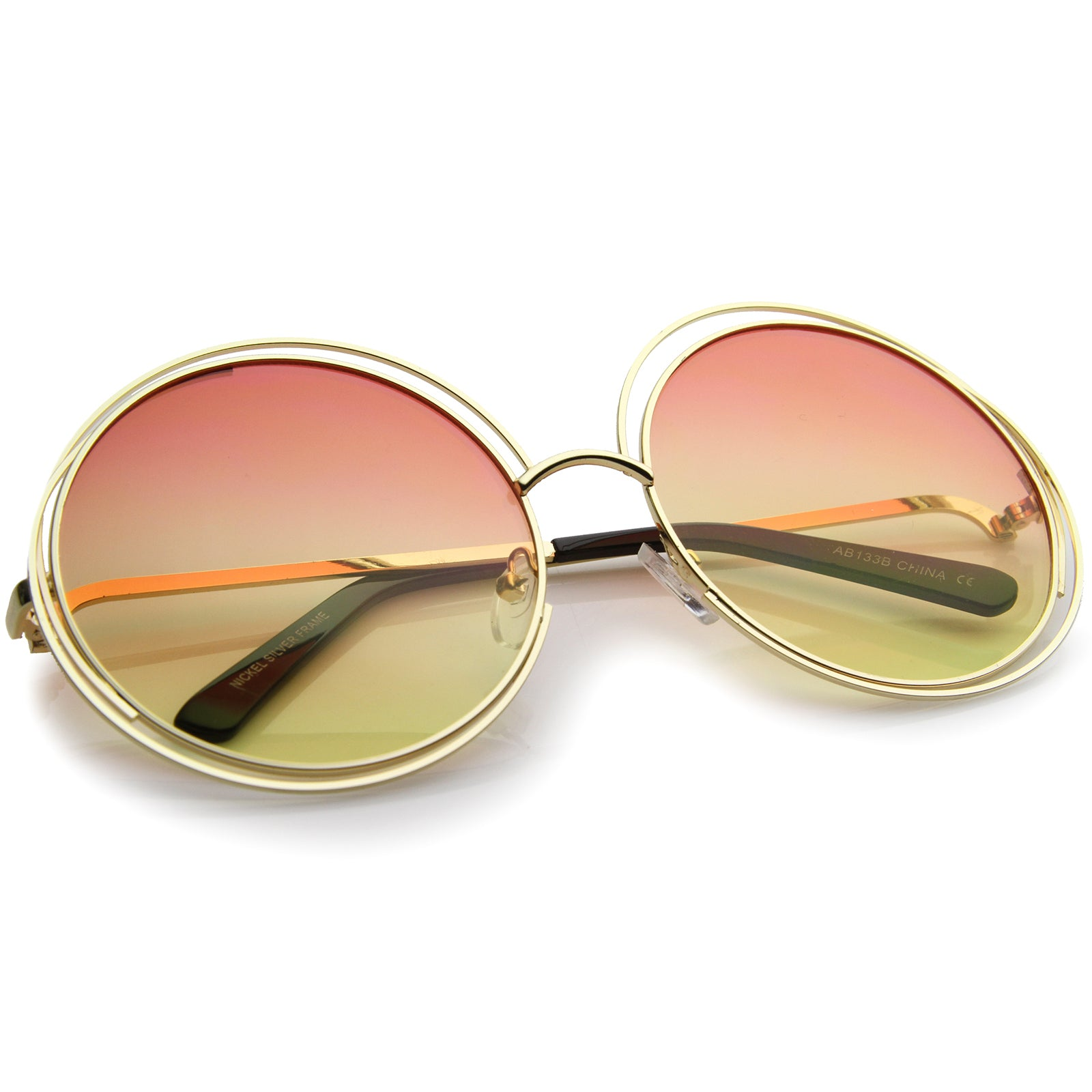 Oversize Wire Frame Gradient Two-Tone Color Lens Round Sunglasses 61mm - sunglass.la - 4