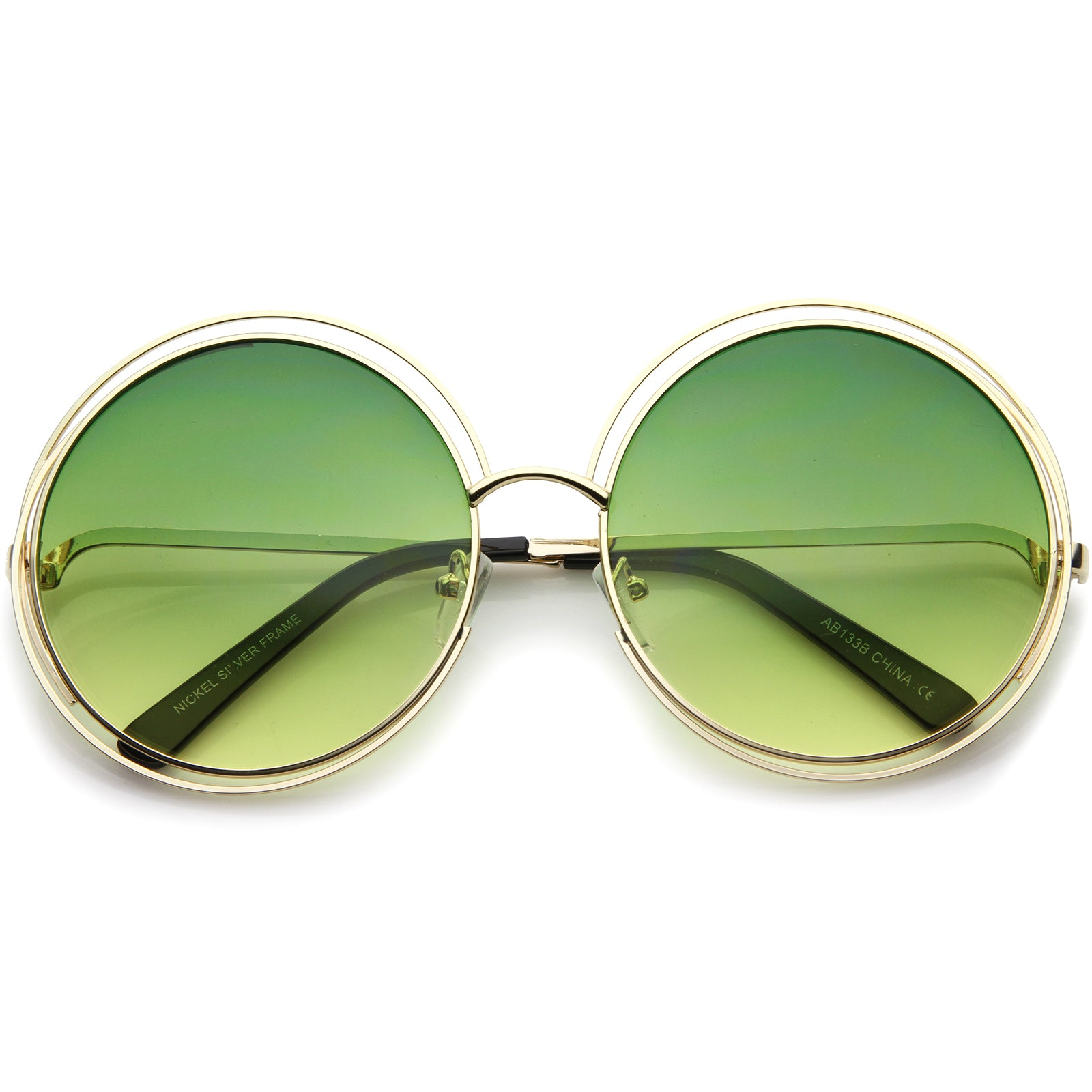 Oversize Wire Frame Gradient Two-Tone Color Lens Round Sunglasses 61mm - sunglass.la - 5