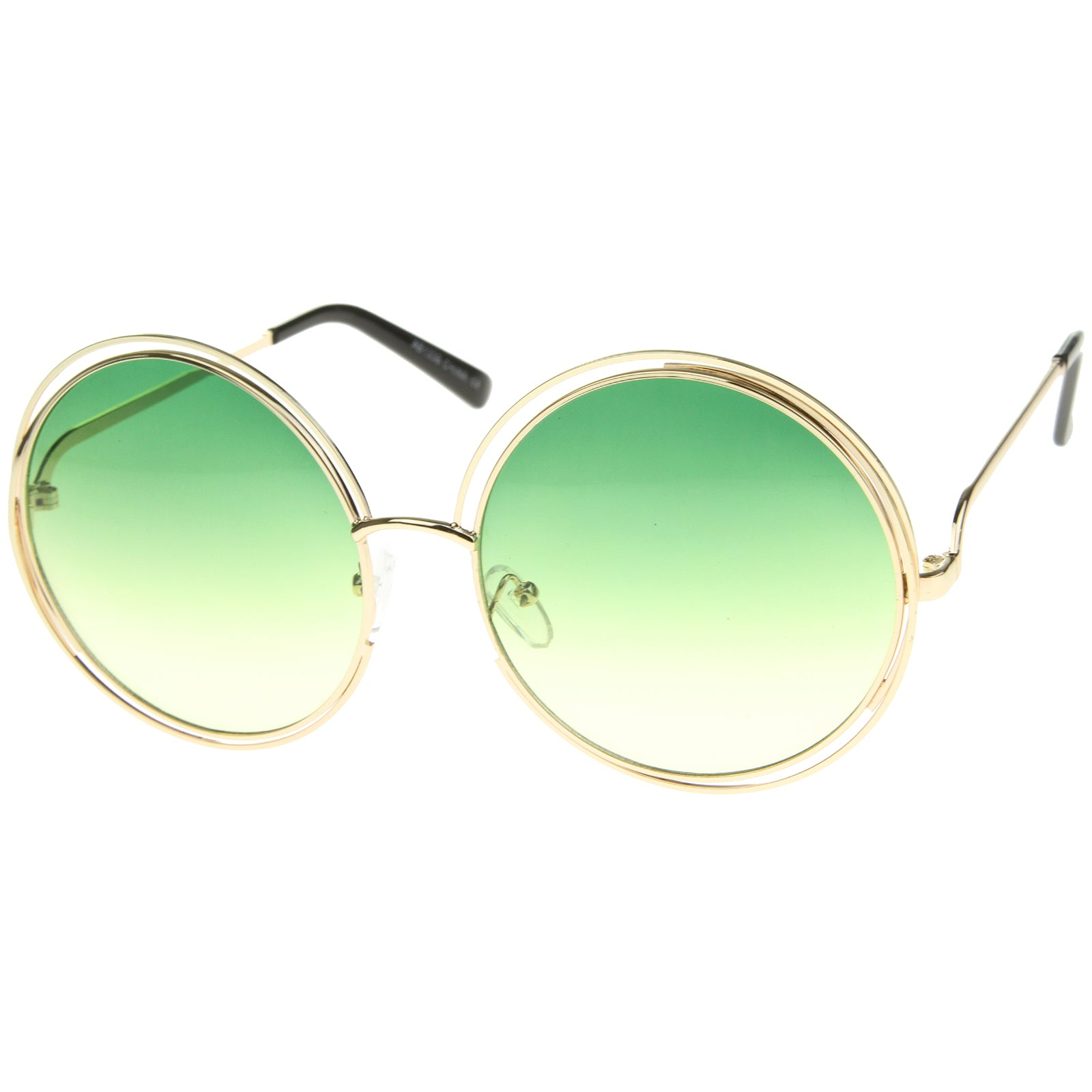 Oversize Wire Frame Gradient Two-Tone Color Lens Round Sunglasses 61mm - sunglass.la - 6