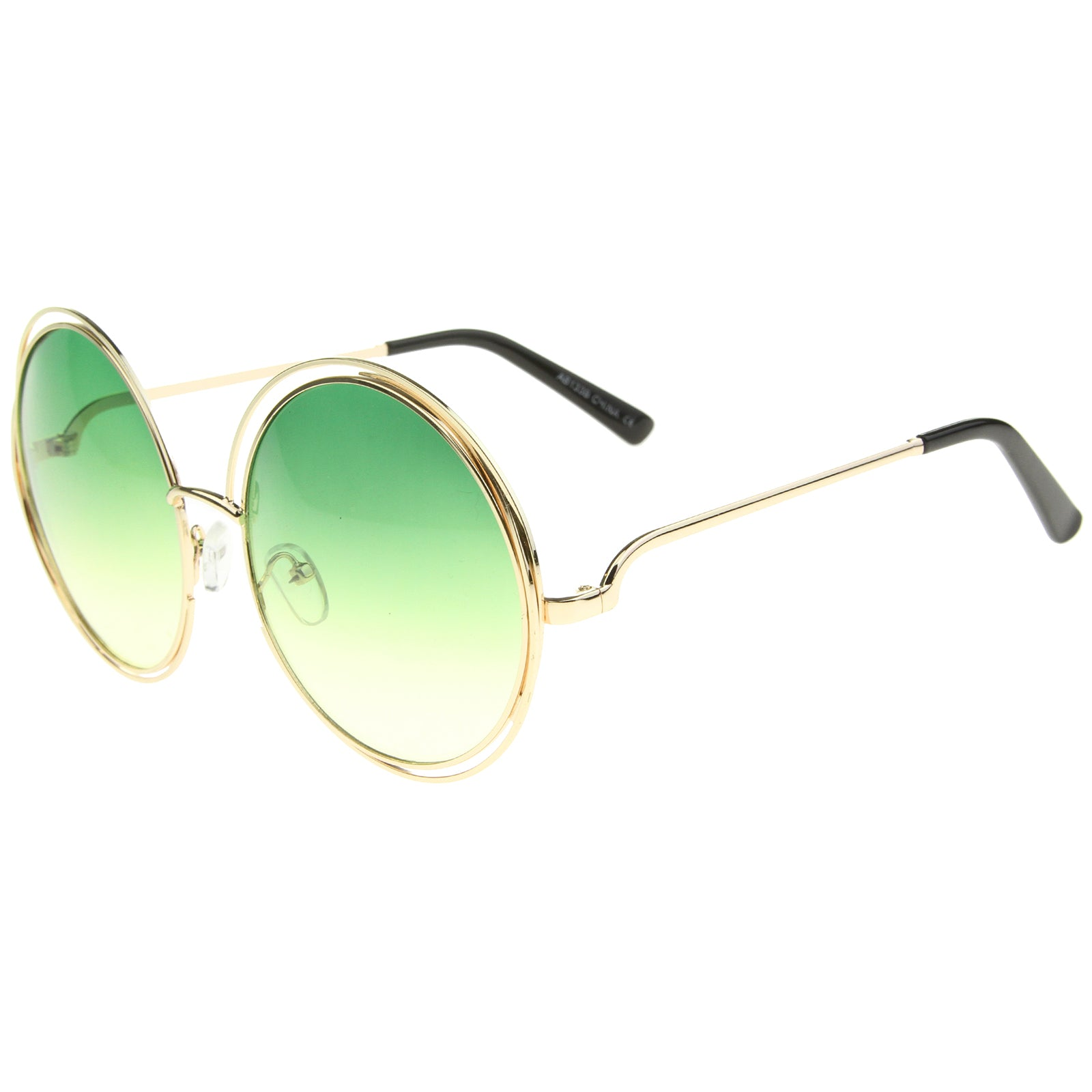 Oversize Wire Frame Gradient Two-Tone Color Lens Round Sunglasses 61mm - sunglass.la - 7