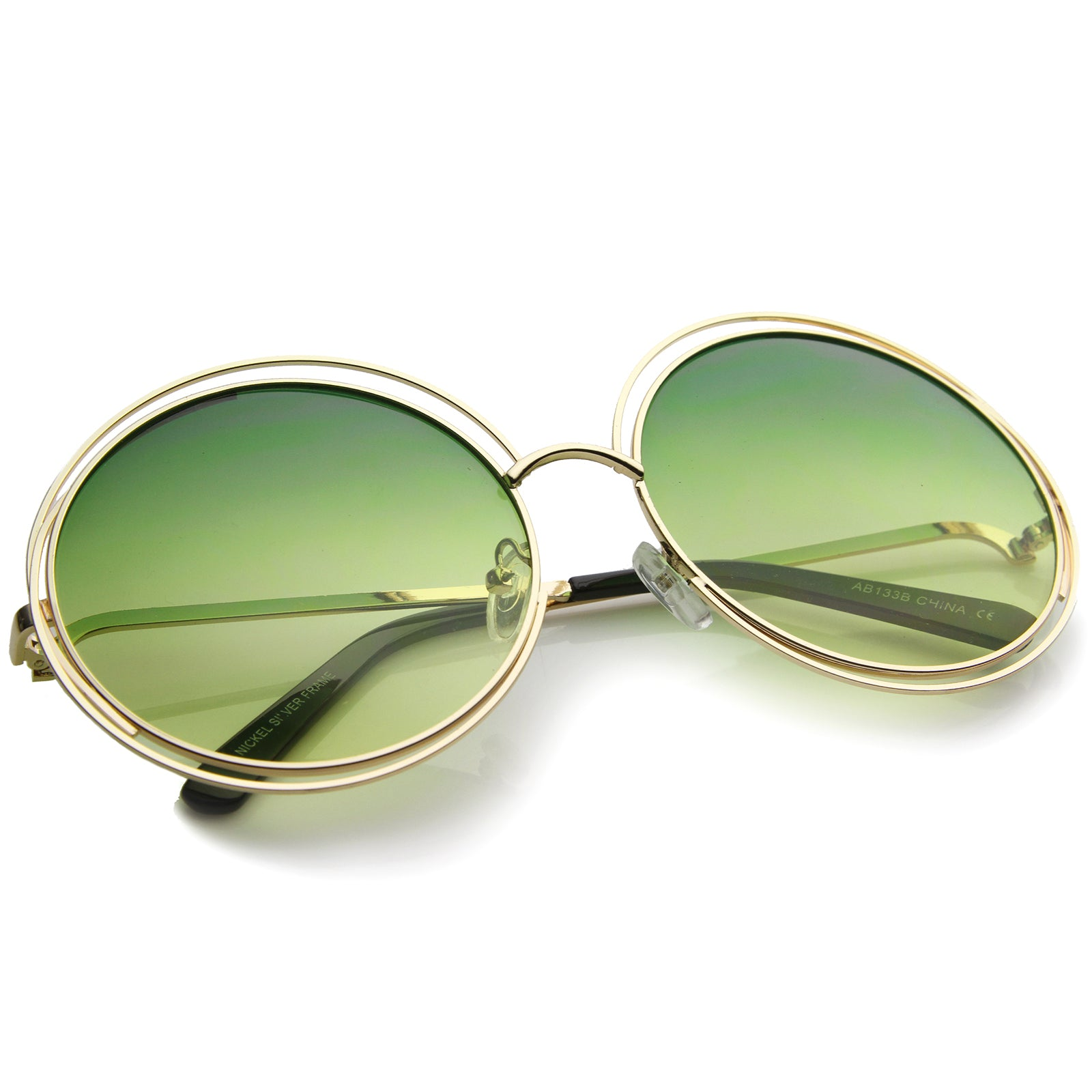 Oversize Wire Frame Gradient Two-Tone Color Lens Round Sunglasses 61mm - sunglass.la - 8