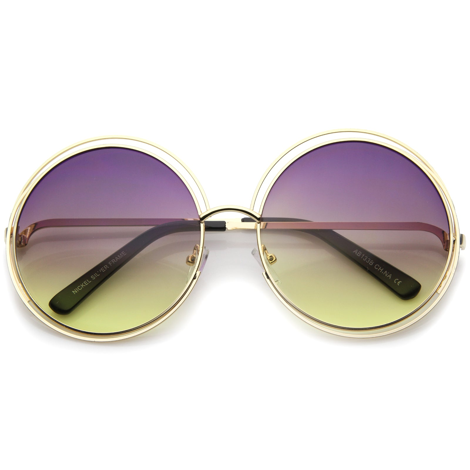 1f457c571d Oversize Wire Frame Gradient Two-Tone Color Lens Round Sunglasses ...