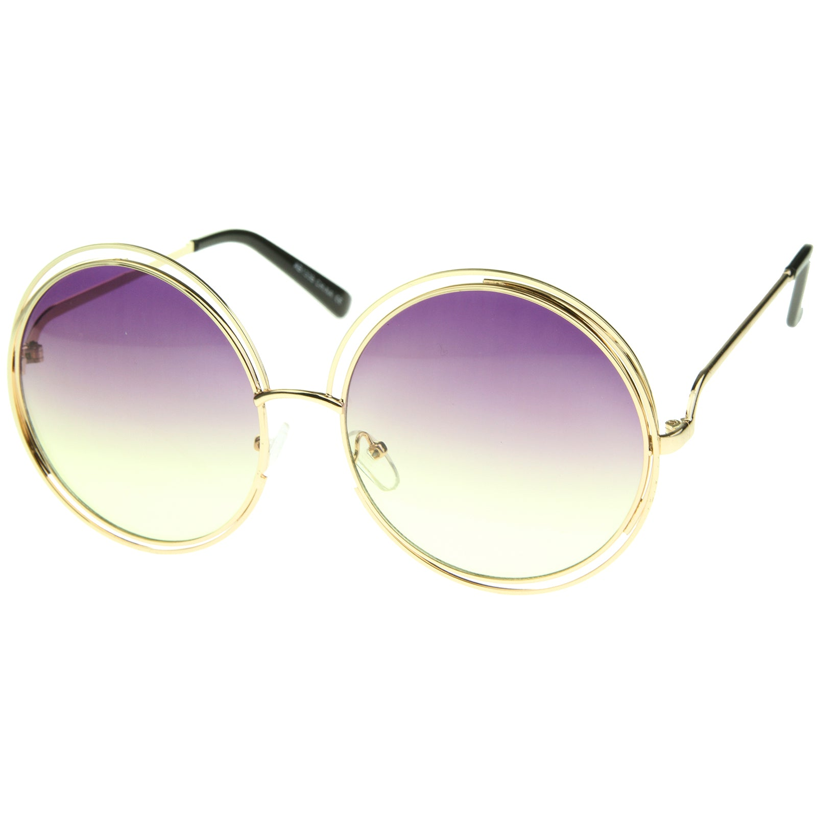 Oversize Wire Frame Gradient Two-Tone Color Lens Round Sunglasses 61mm - sunglass.la - 10