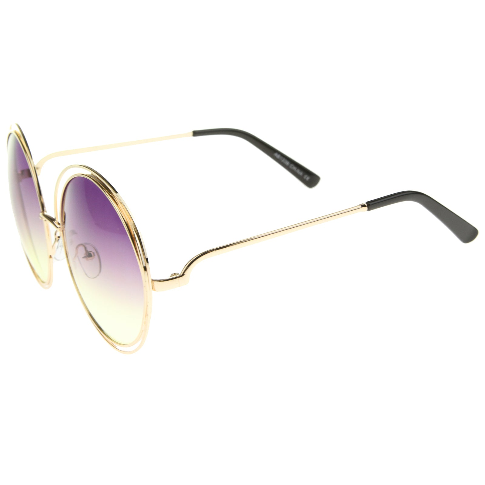 Oversize Wire Frame Gradient Two-Tone Color Lens Round Sunglasses 61mm - sunglass.la - 11
