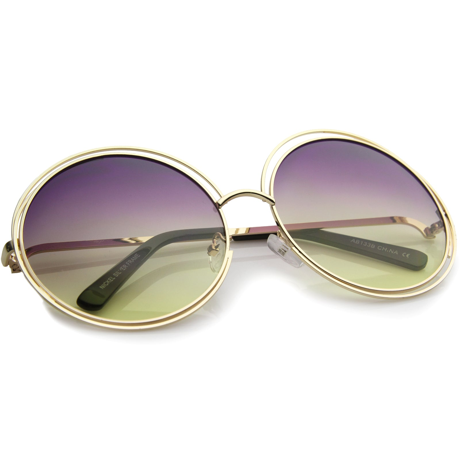 Oversize Wire Frame Gradient Two-Tone Color Lens Round Sunglasses 61mm - sunglass.la - 12