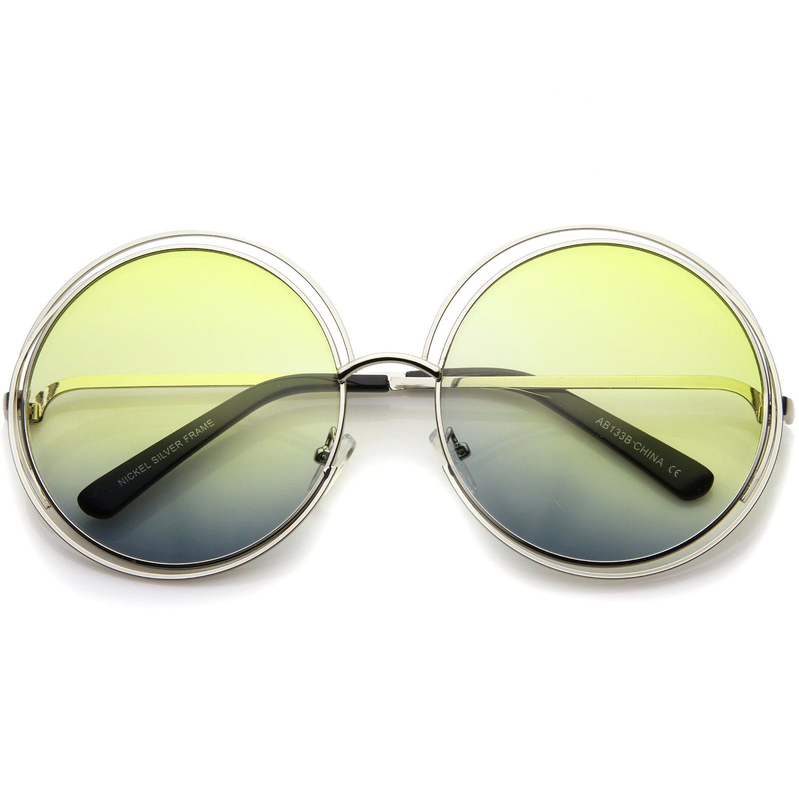 Oversize Wire Frame Gradient Two-Tone Color Lens Round Sunglasses 61mm - sunglass.la - 13