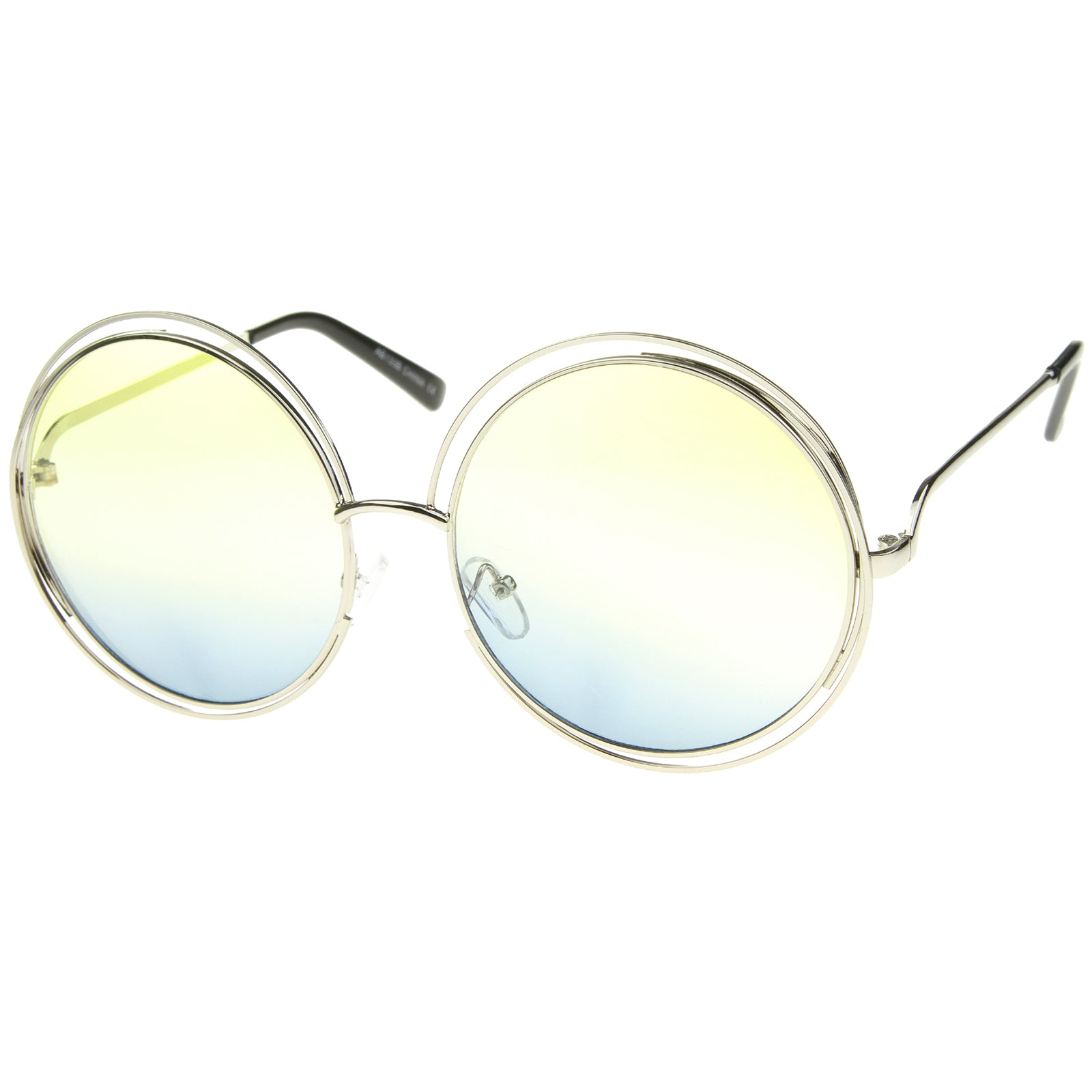 Oversize Wire Frame Gradient Two-Tone Color Lens Round Sunglasses 61mm - sunglass.la - 14