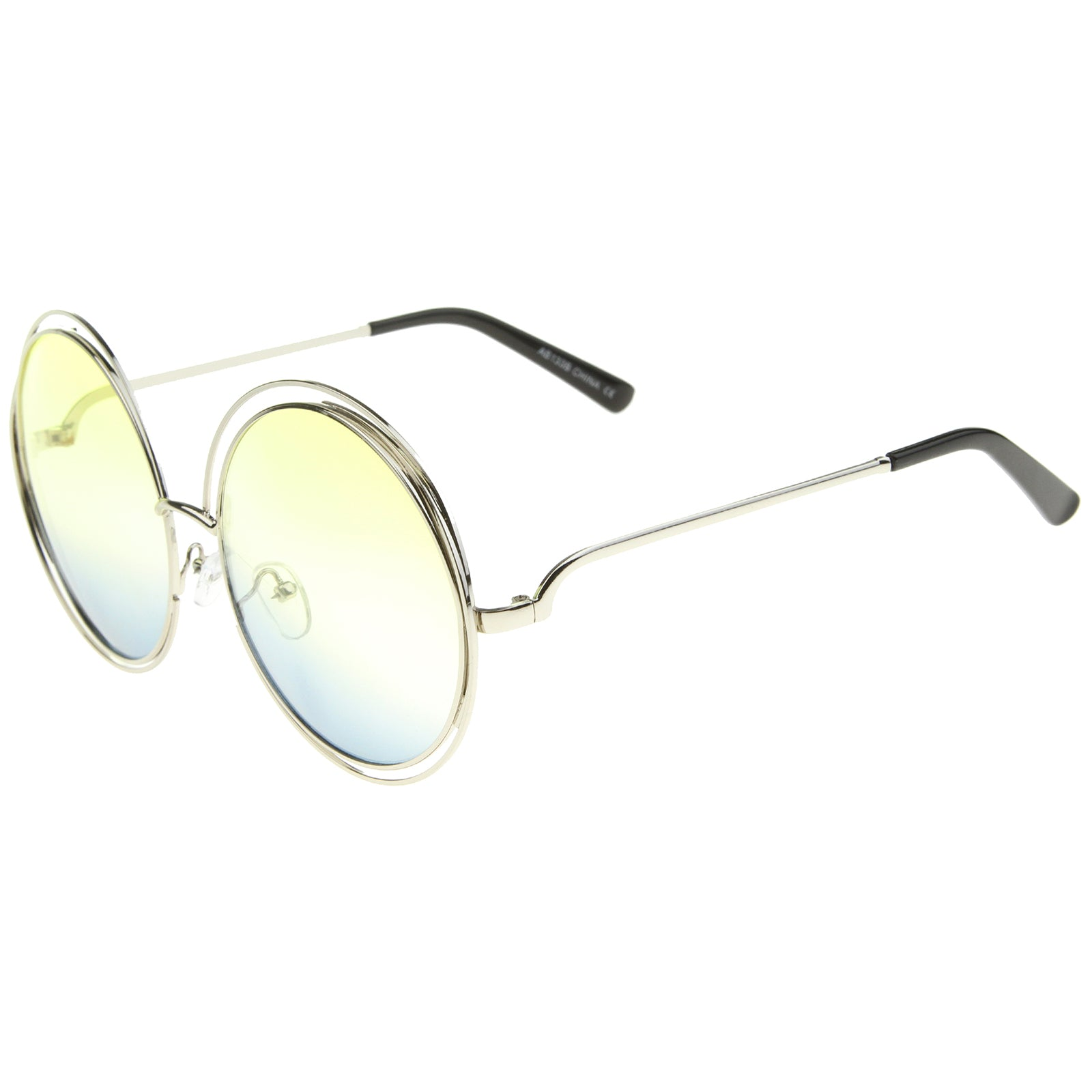Oversize Wire Frame Gradient Two-Tone Color Lens Round Sunglasses 61mm - sunglass.la - 15