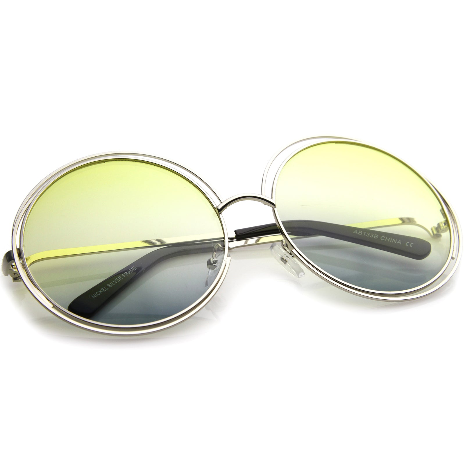 Oversize Wire Frame Gradient Two-Tone Color Lens Round Sunglasses 61mm - sunglass.la - 16