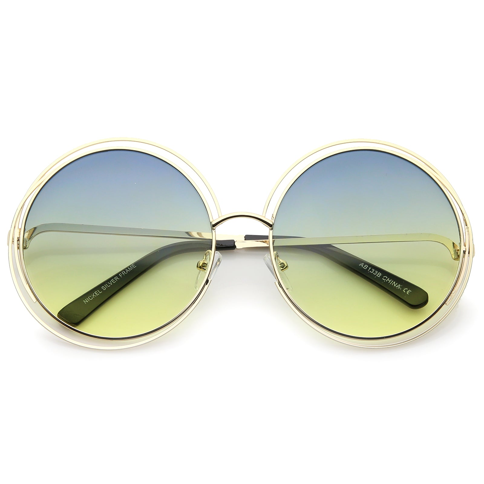 Oversize Wire Frame Gradient Two-Tone Color Lens Round Sunglasses 61mm - sunglass.la - 17