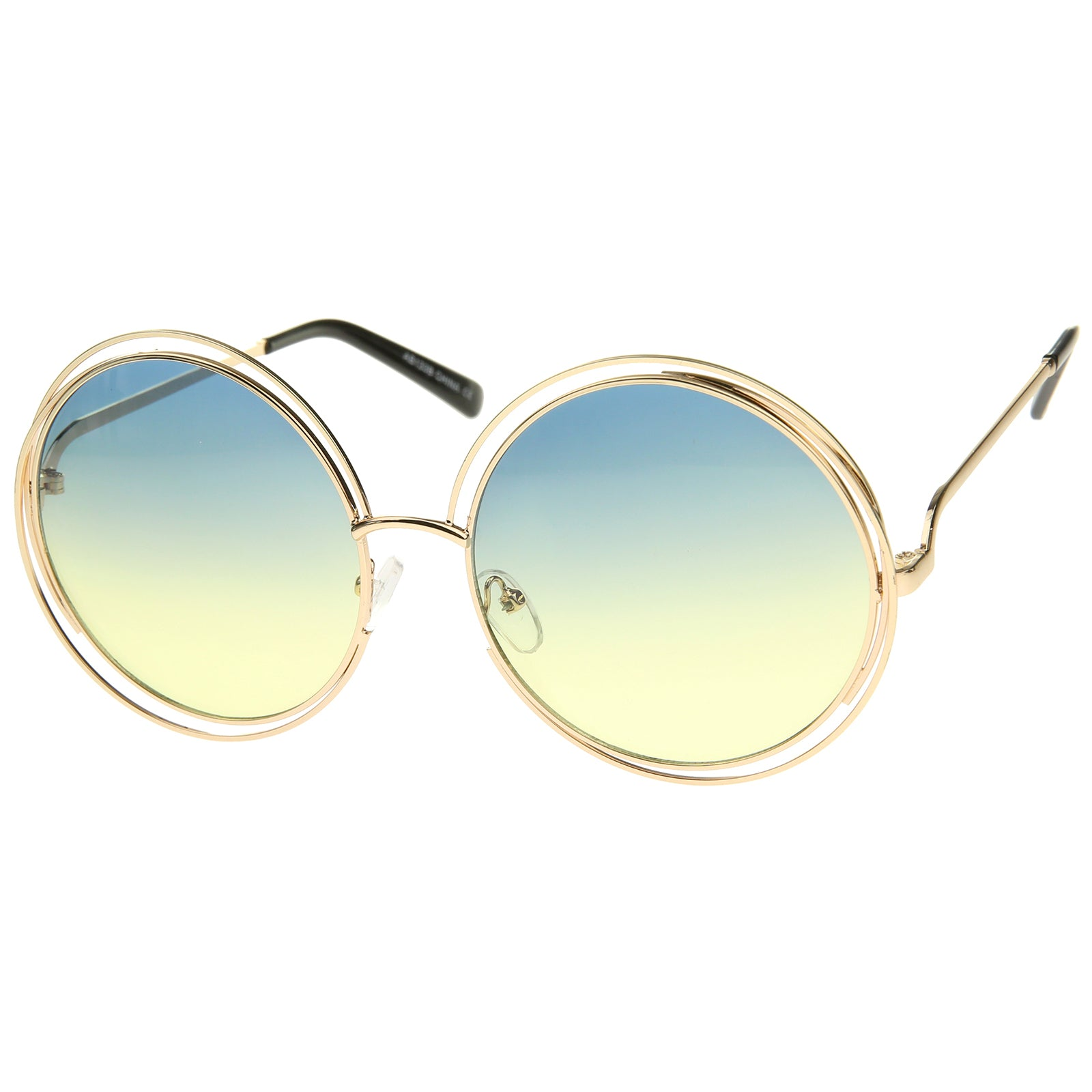 Oversize Wire Frame Gradient Two-Tone Color Lens Round Sunglasses 61mm - sunglass.la - 18