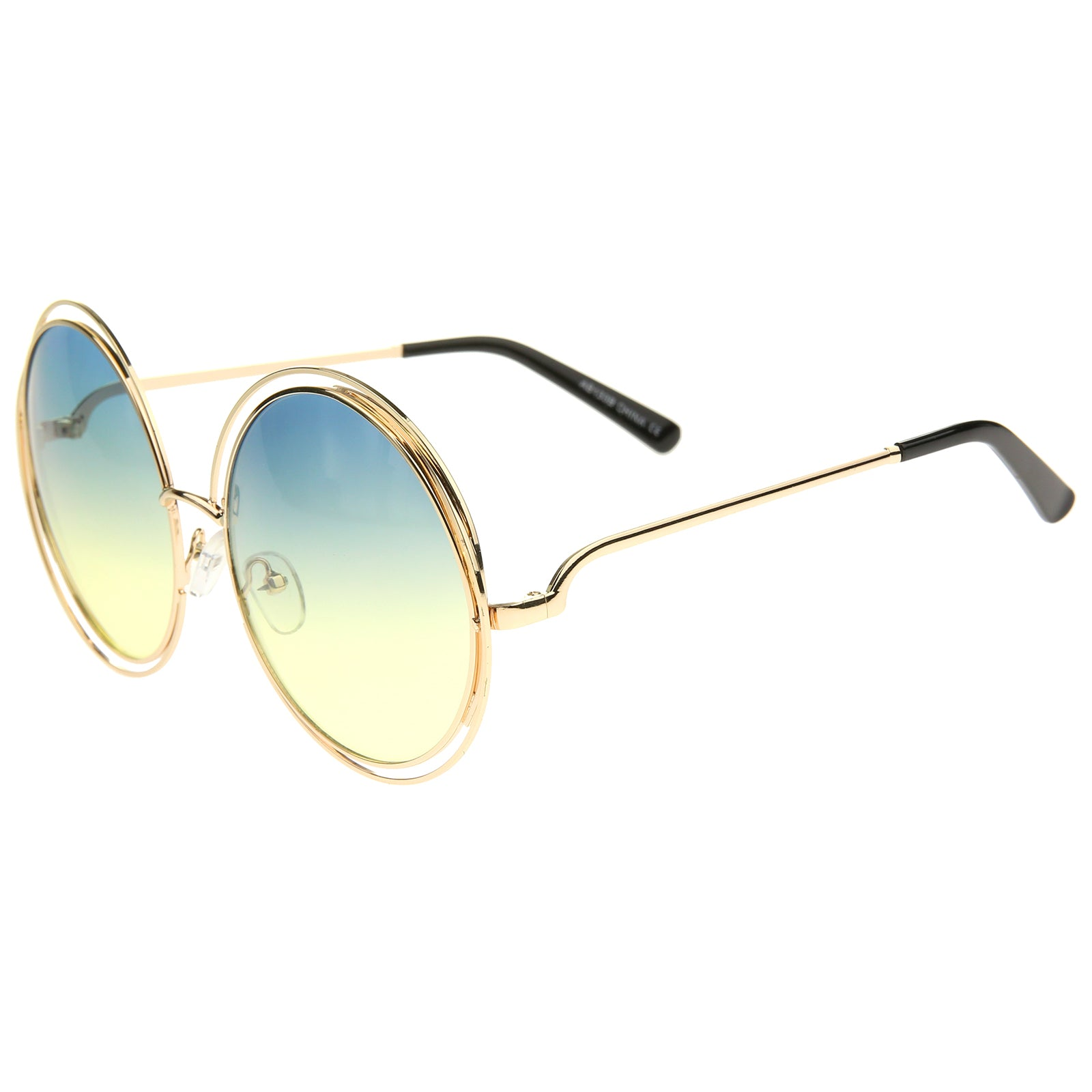 Oversize Wire Frame Gradient Two-Tone Color Lens Round Sunglasses 61mm - sunglass.la - 19