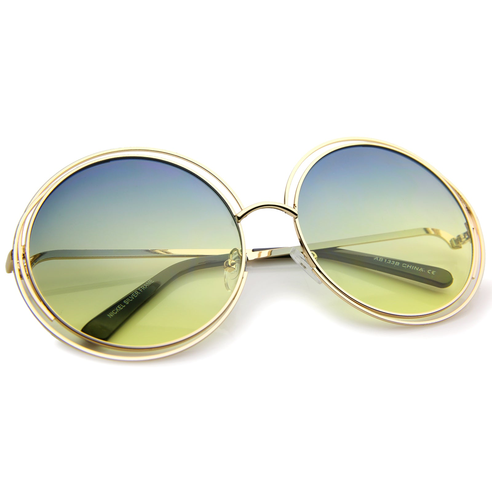 Oversize Wire Frame Gradient Two-Tone Color Lens Round Sunglasses 61mm - sunglass.la - 20