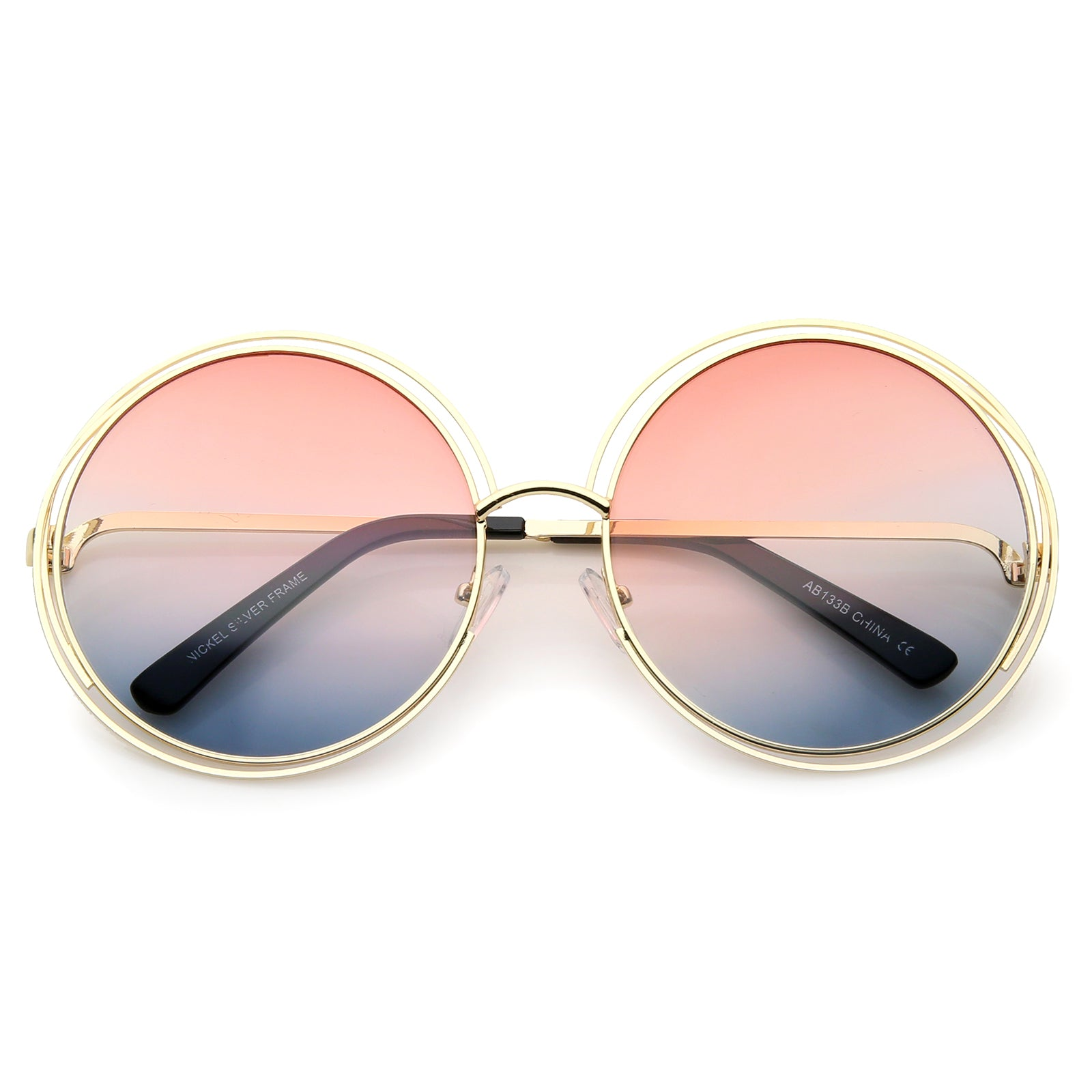 Oversize Wire Frame Gradient Two-Tone Color Lens Round Sunglasses 61mm - sunglass.la - 21