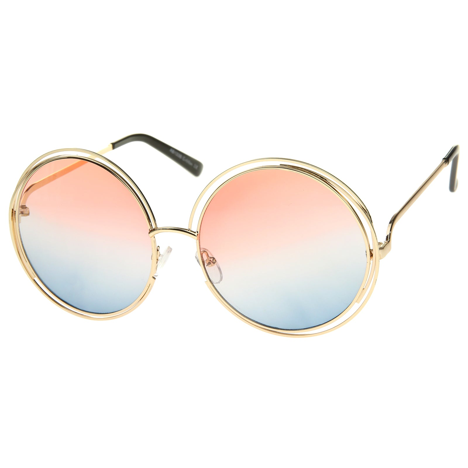 Oversize Wire Frame Gradient Two-Tone Color Lens Round Sunglasses 61mm - sunglass.la - 22