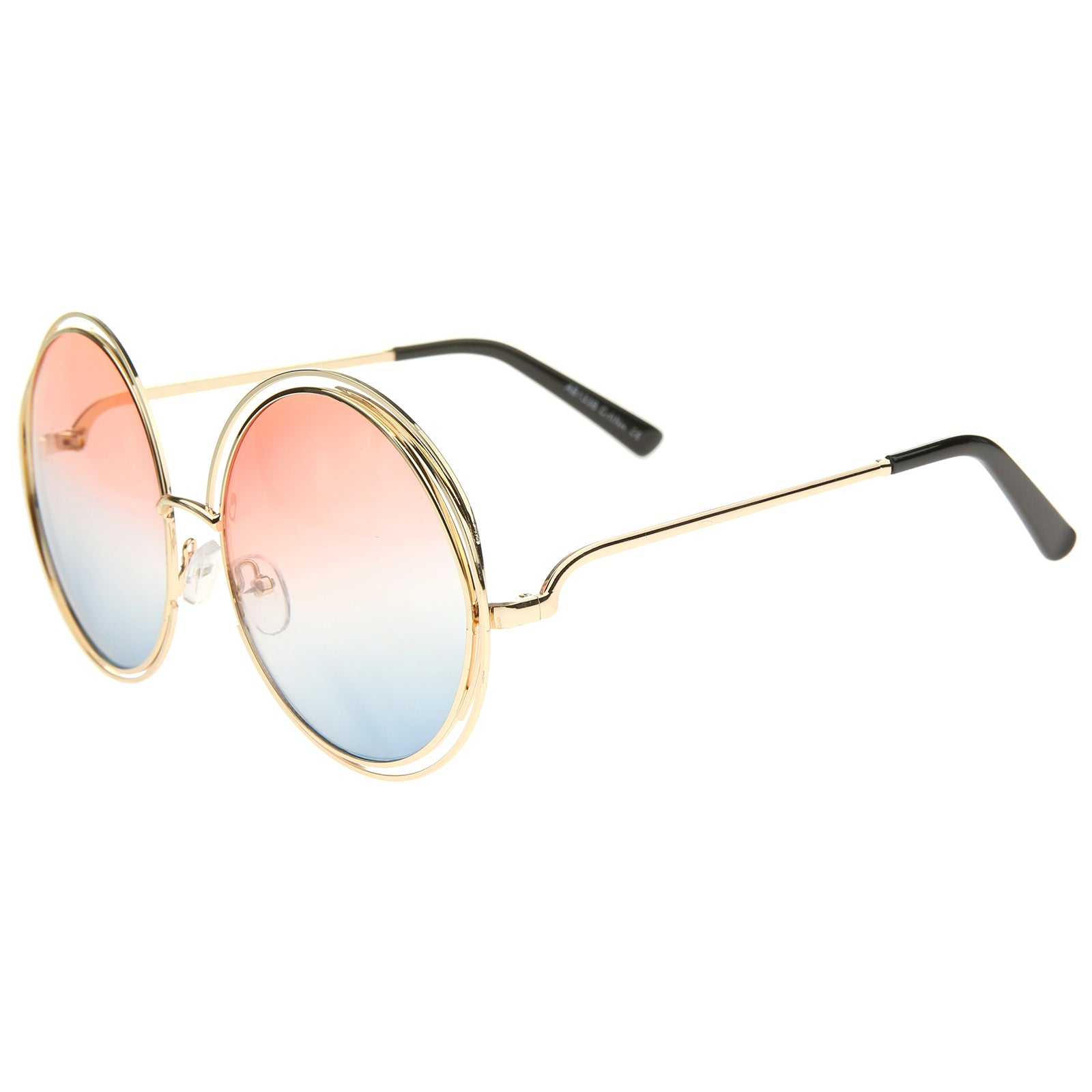 Oversize Wire Frame Gradient Two-Tone Color Lens Round Sunglasses 61mm - sunglass.la - 23