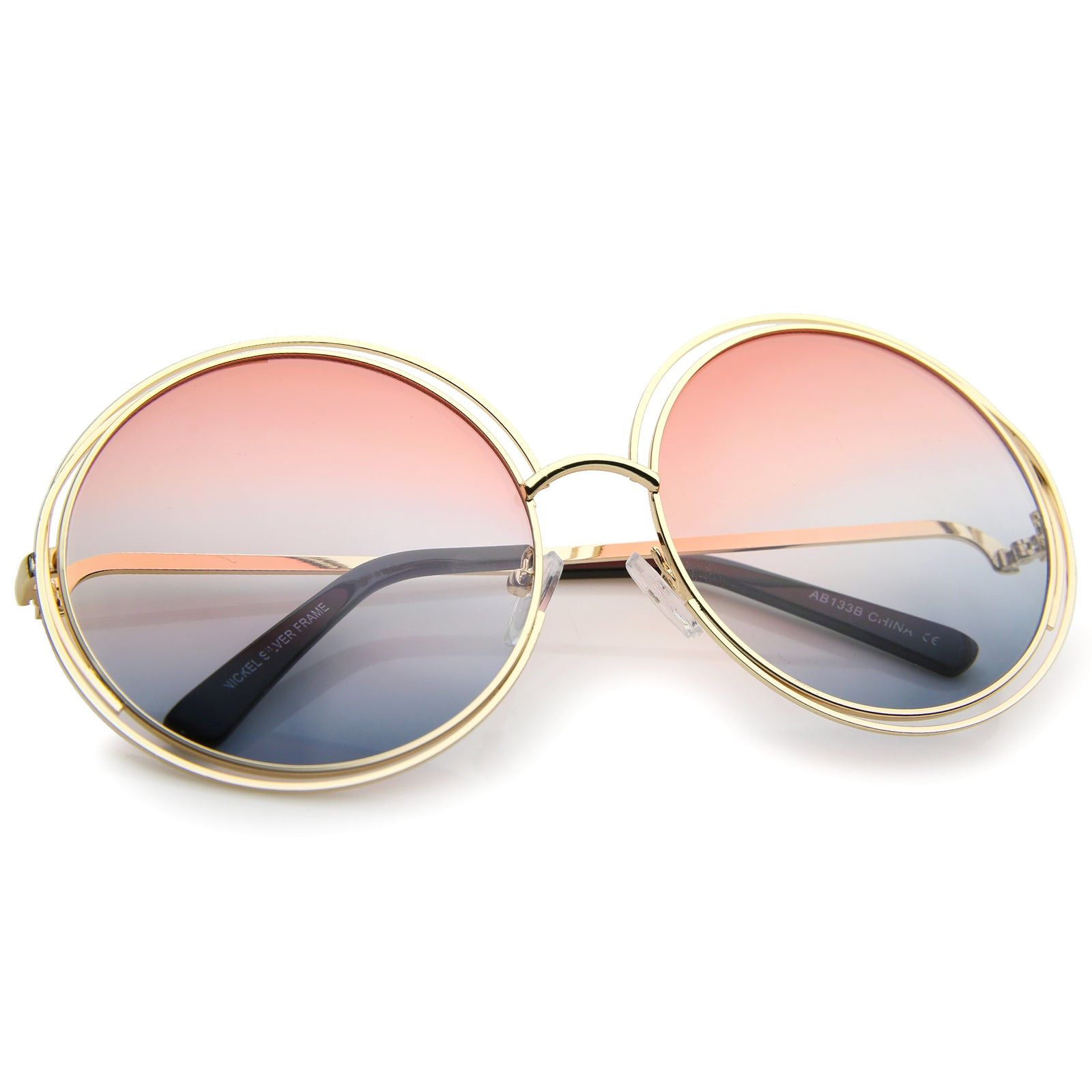 Oversize Wire Frame Gradient Two-Tone Color Lens Round Sunglasses 61mm - sunglass.la - 24