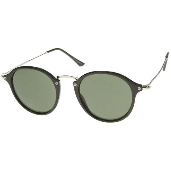 Iconic Classic Dapper Thin Metal Temple Tinted Lens Round Sunglasses 49mm - sunglass.la