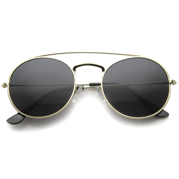 Retro Fashion Minimal Thin Metal Brow Bar Round Sunglasses 52mm - sunglass.la - 1