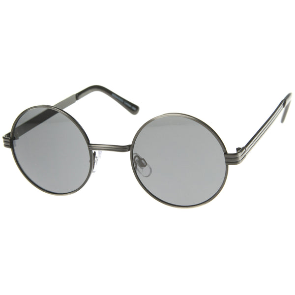 Retro Fashion Metal Textured Frame Flat Lens Round Sunglasses 50mm - sunglass.la - 1