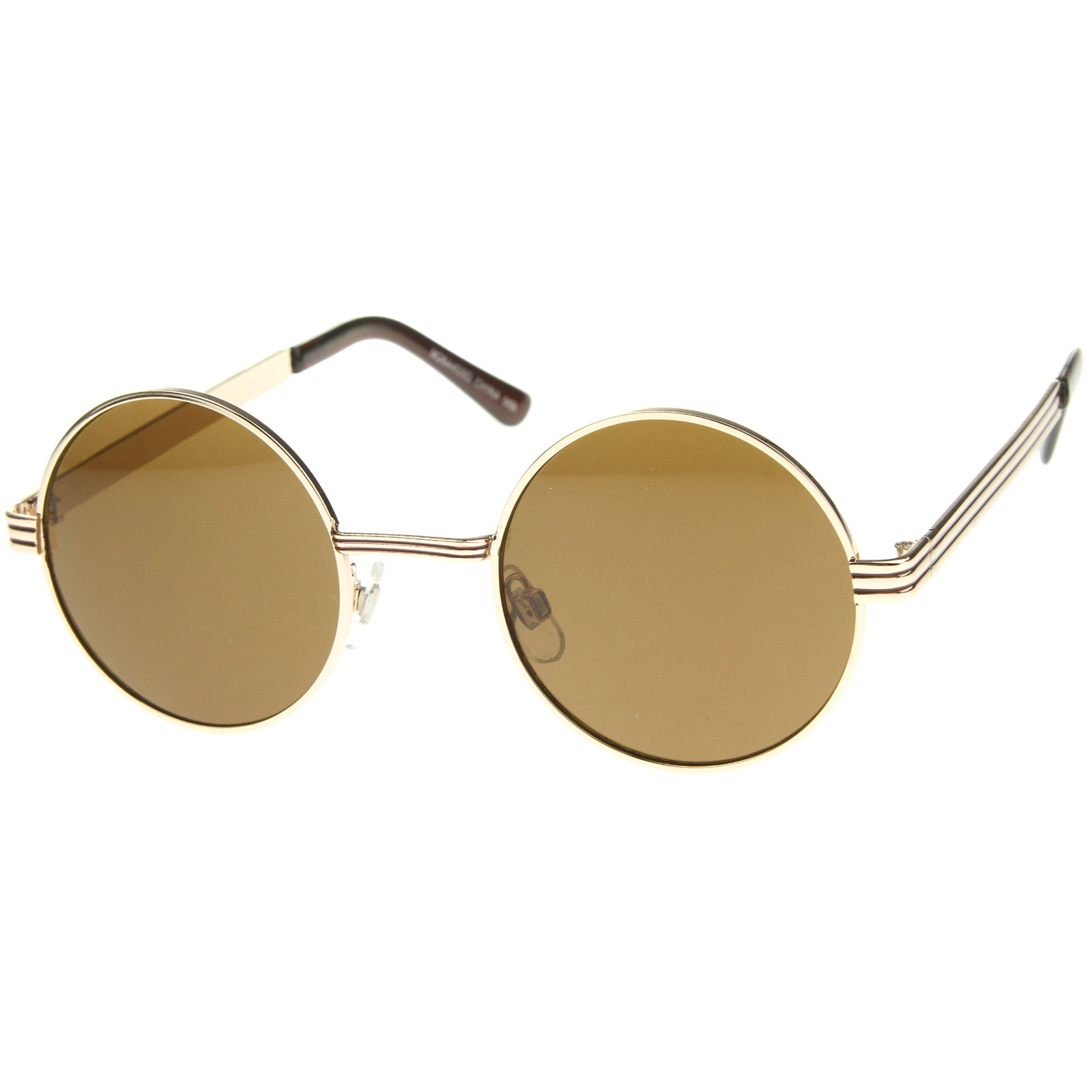 Retro Fashion Metal Textured Frame Flat Lens Round Sunglasses 50mm - sunglass.la - 6