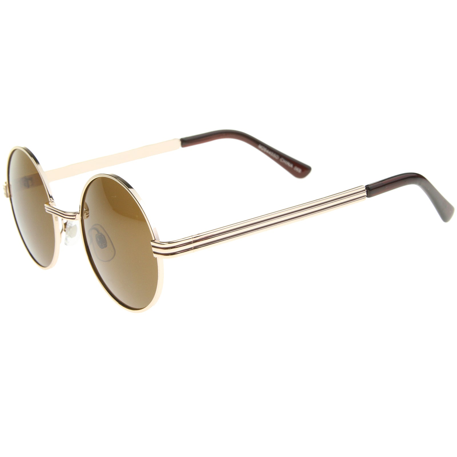 Retro Fashion Metal Textured Frame Flat Lens Round Sunglasses 50mm - sunglass.la - 7