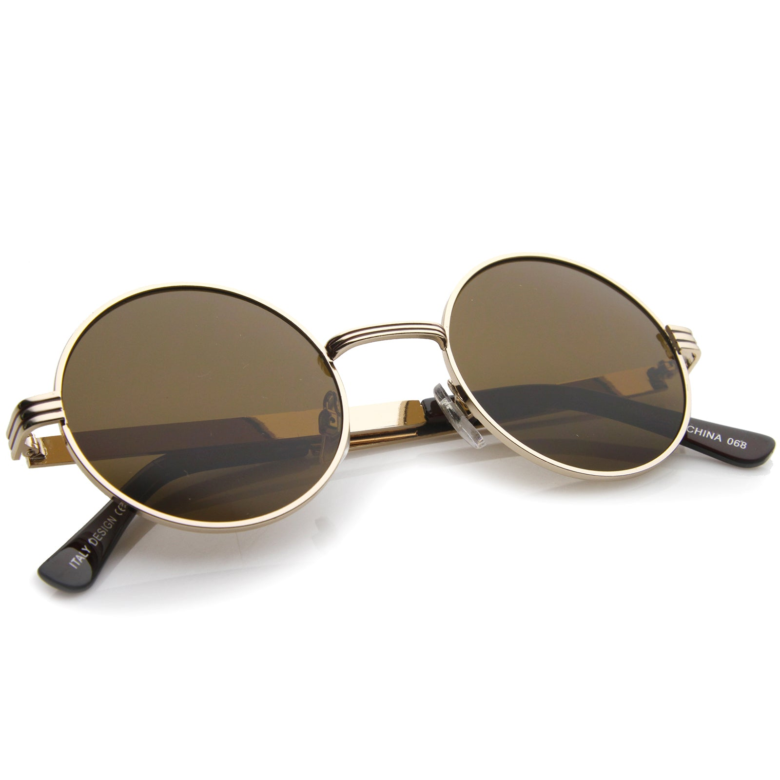 Retro Fashion Metal Textured Frame Flat Lens Round Sunglasses 50mm - sunglass.la - 8