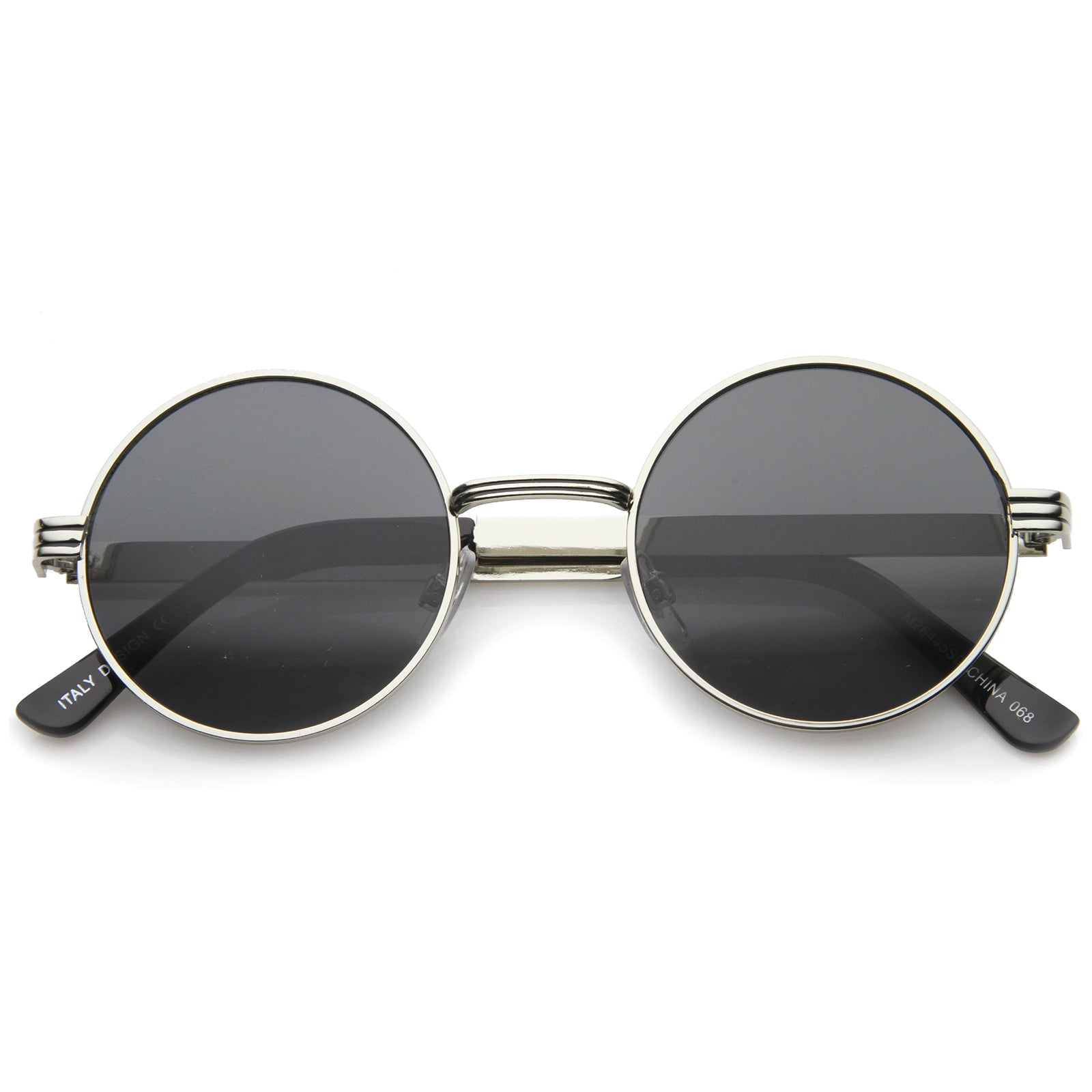 Retro Fashion Metal Textured Frame Flat Lens Round Sunglasses 50mm - sunglass.la - 9
