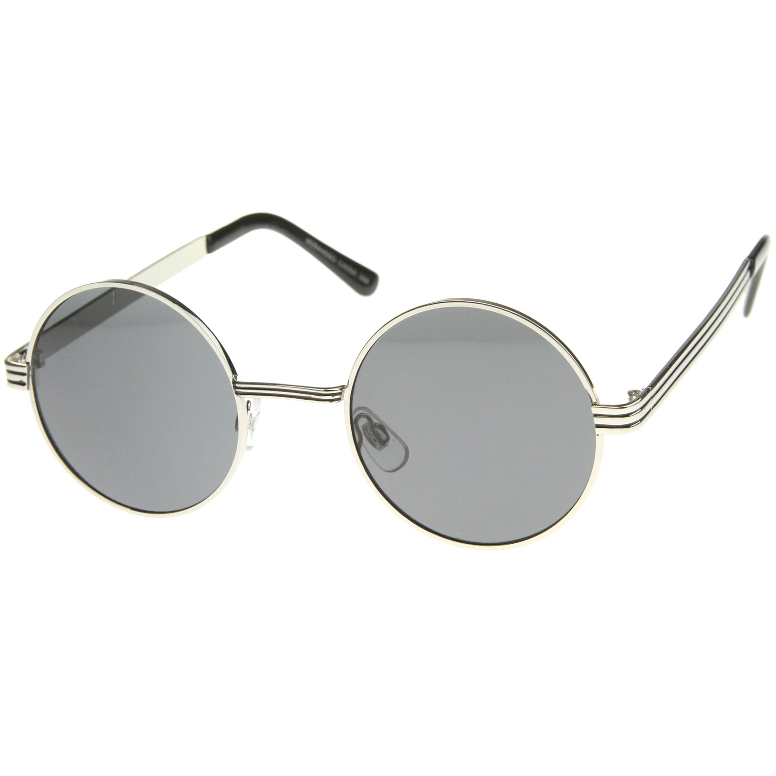Retro Fashion Metal Textured Frame Flat Lens Round Sunglasses 50mm - sunglass.la - 10