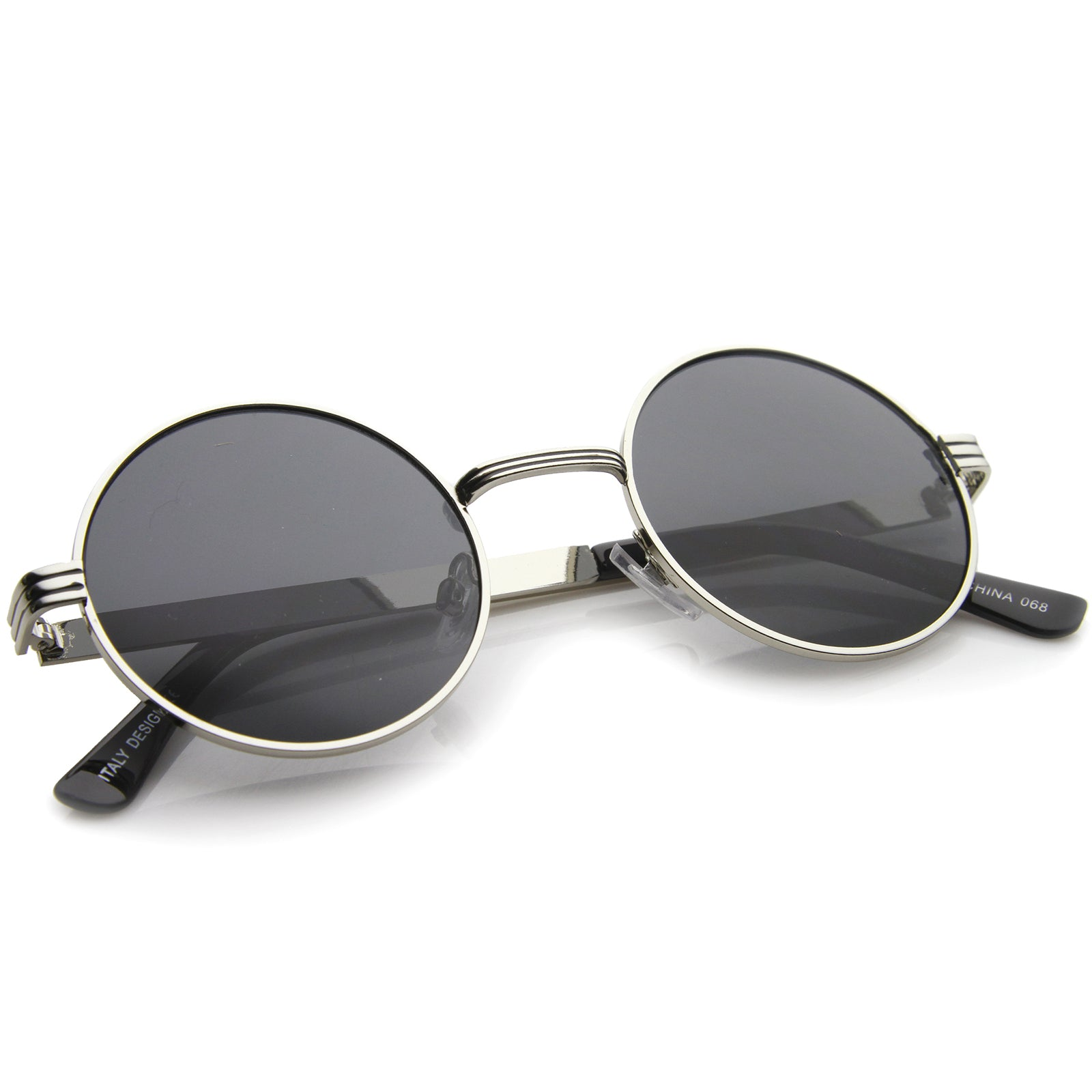 Retro Fashion Metal Textured Frame Flat Lens Round Sunglasses 50mm - sunglass.la - 12