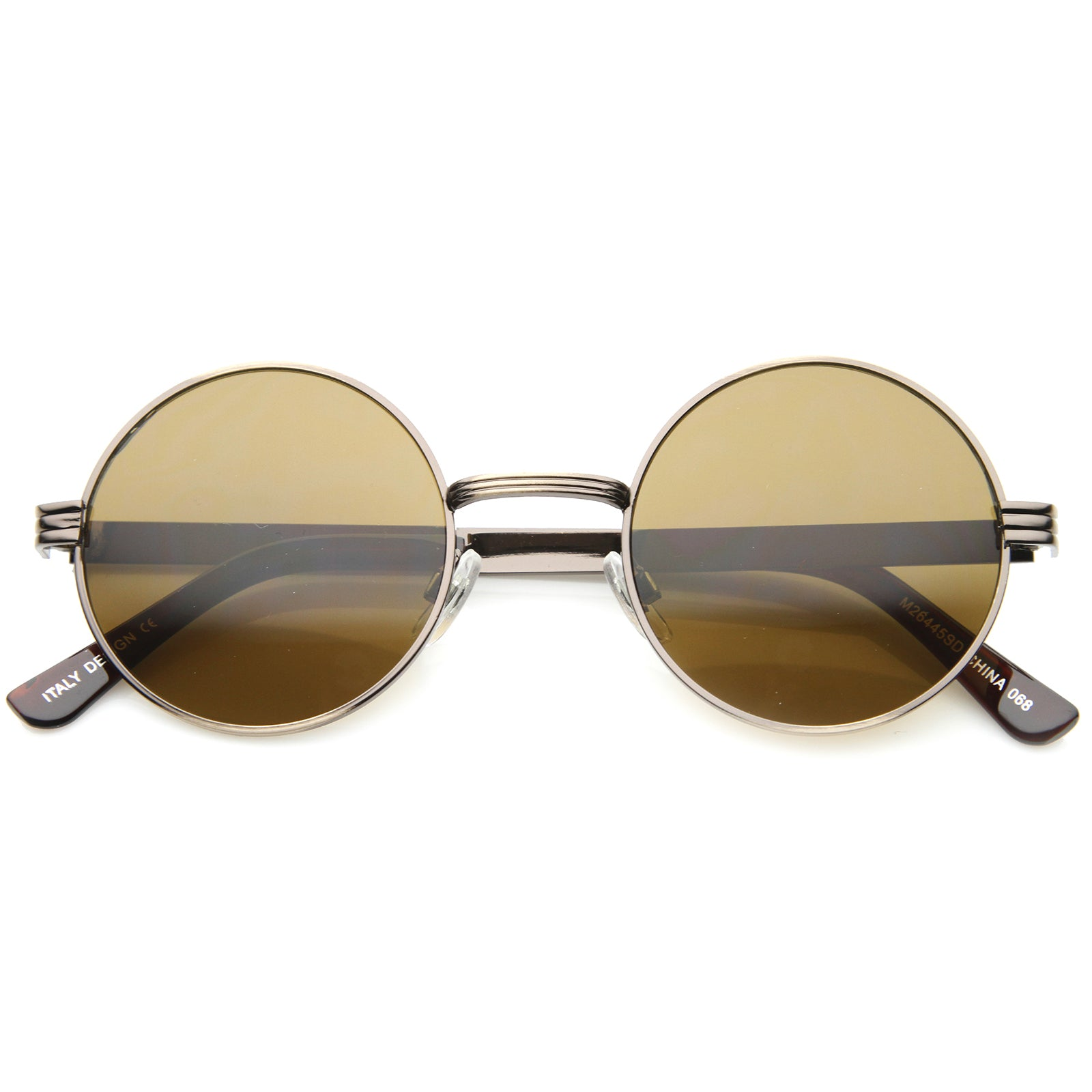 Retro Fashion Metal Textured Frame Flat Lens Round Sunglasses 50mm - sunglass.la - 13