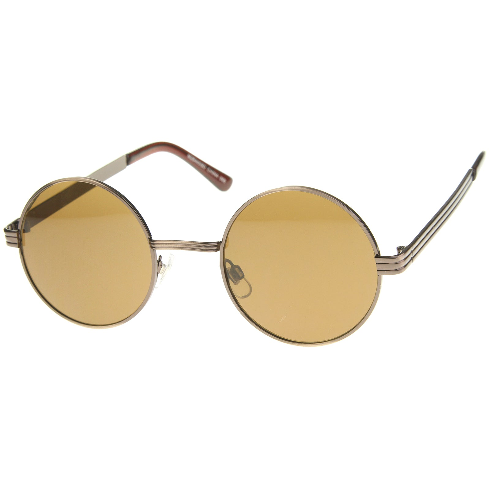 Retro Fashion Metal Textured Frame Flat Lens Round Sunglasses 50mm - sunglass.la - 14