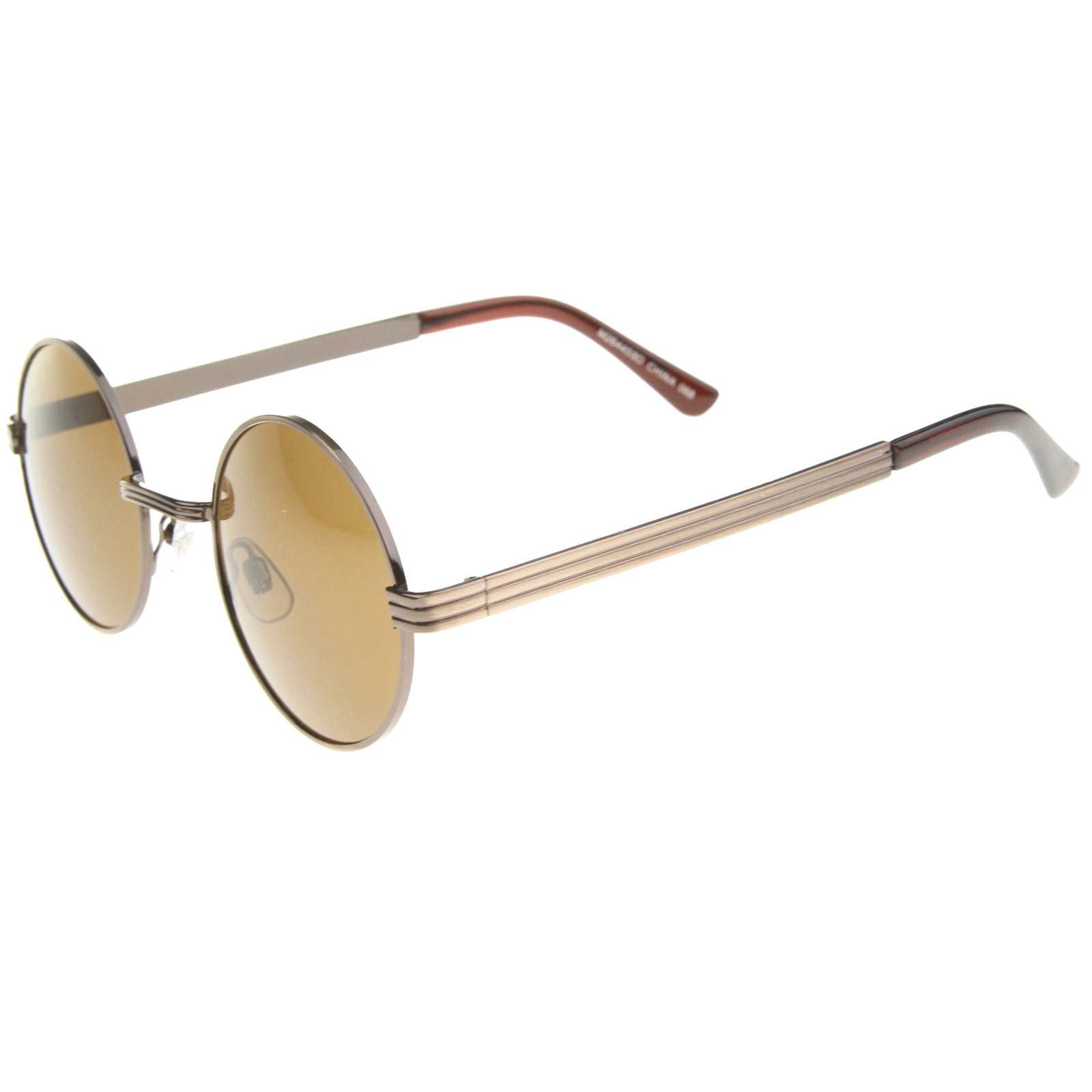 Retro Fashion Metal Textured Frame Flat Lens Round Sunglasses 50mm - sunglass.la - 15
