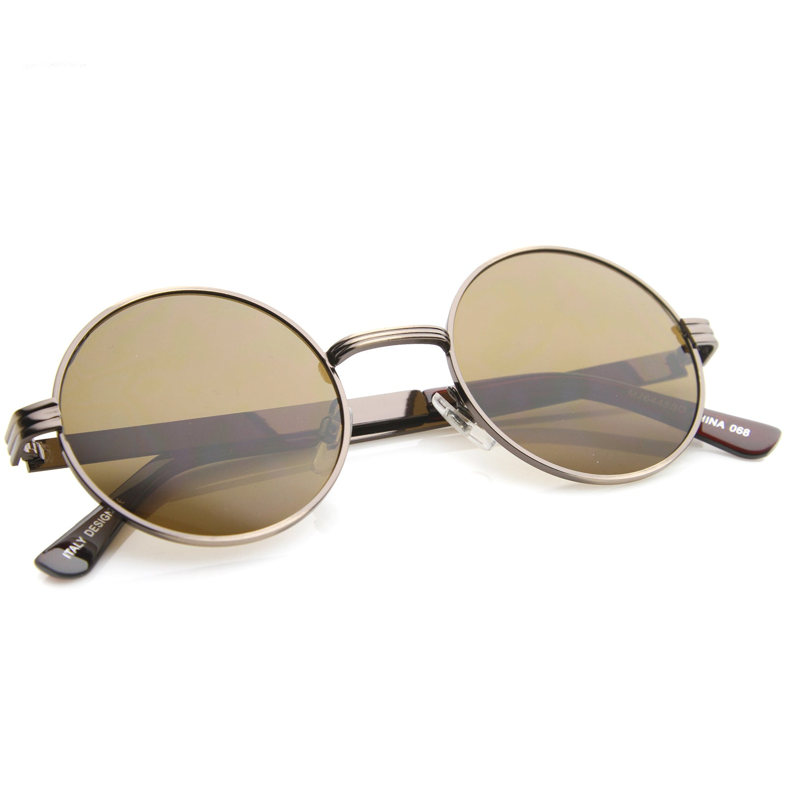 Retro Fashion Metal Textured Frame Flat Lens Round Sunglasses 50mm - sunglass.la - 16