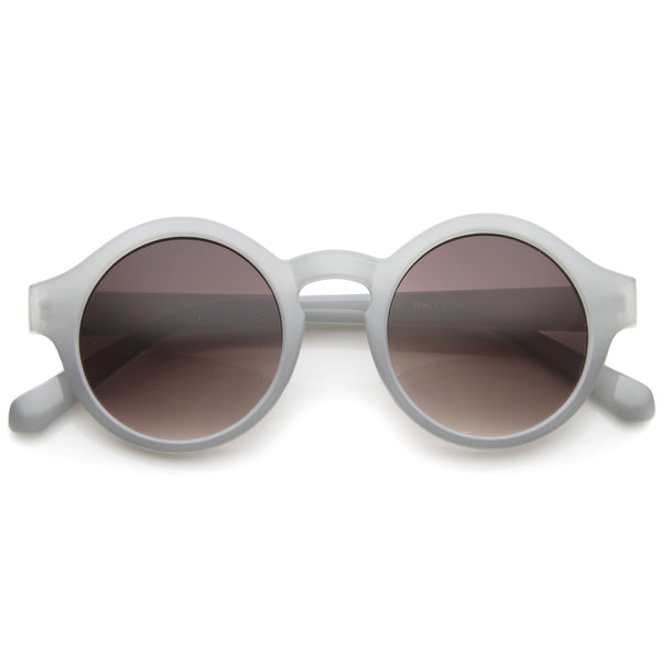 Retro 70s Fashion Pastel Color Horn Rimmed Round Sunglasses 47mm - sunglass.la - 1