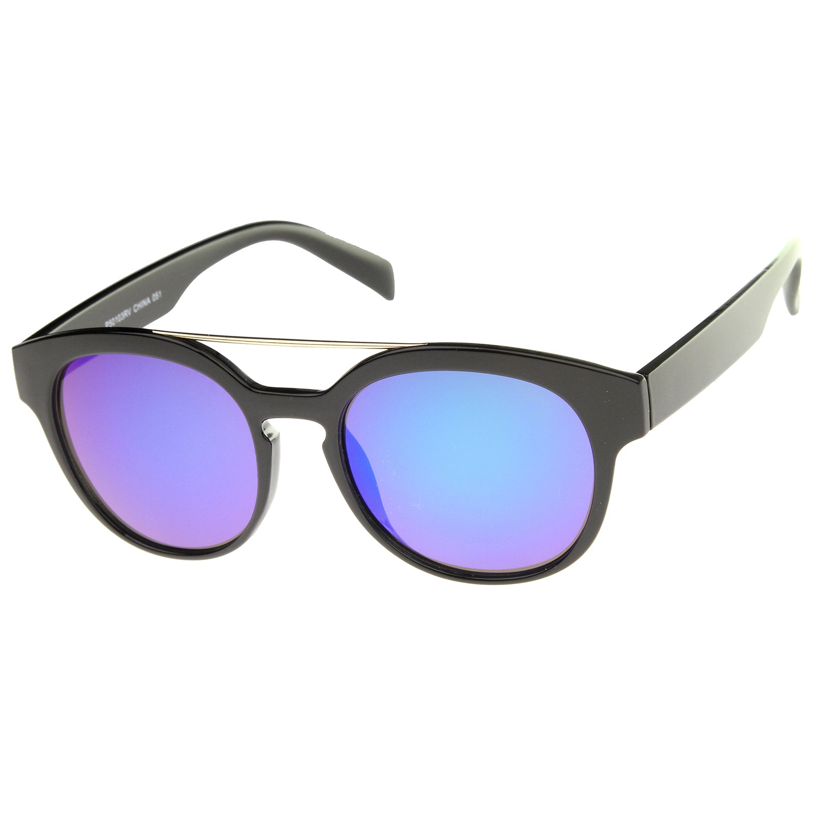 Modern Slim Metal Crossbar Iridescent Lens Horn Rimmed Sunglasses 51mm - sunglass.la - 6