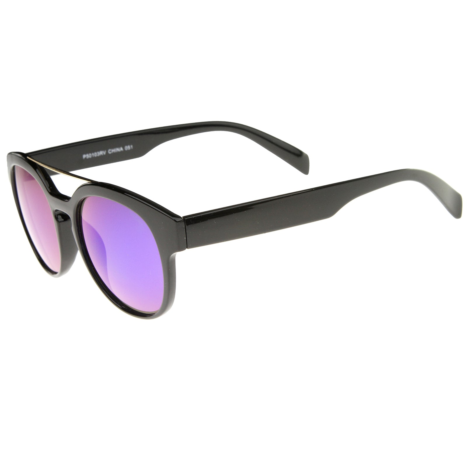 Modern Slim Metal Crossbar Iridescent Lens Horn Rimmed Sunglasses 51mm - sunglass.la - 7