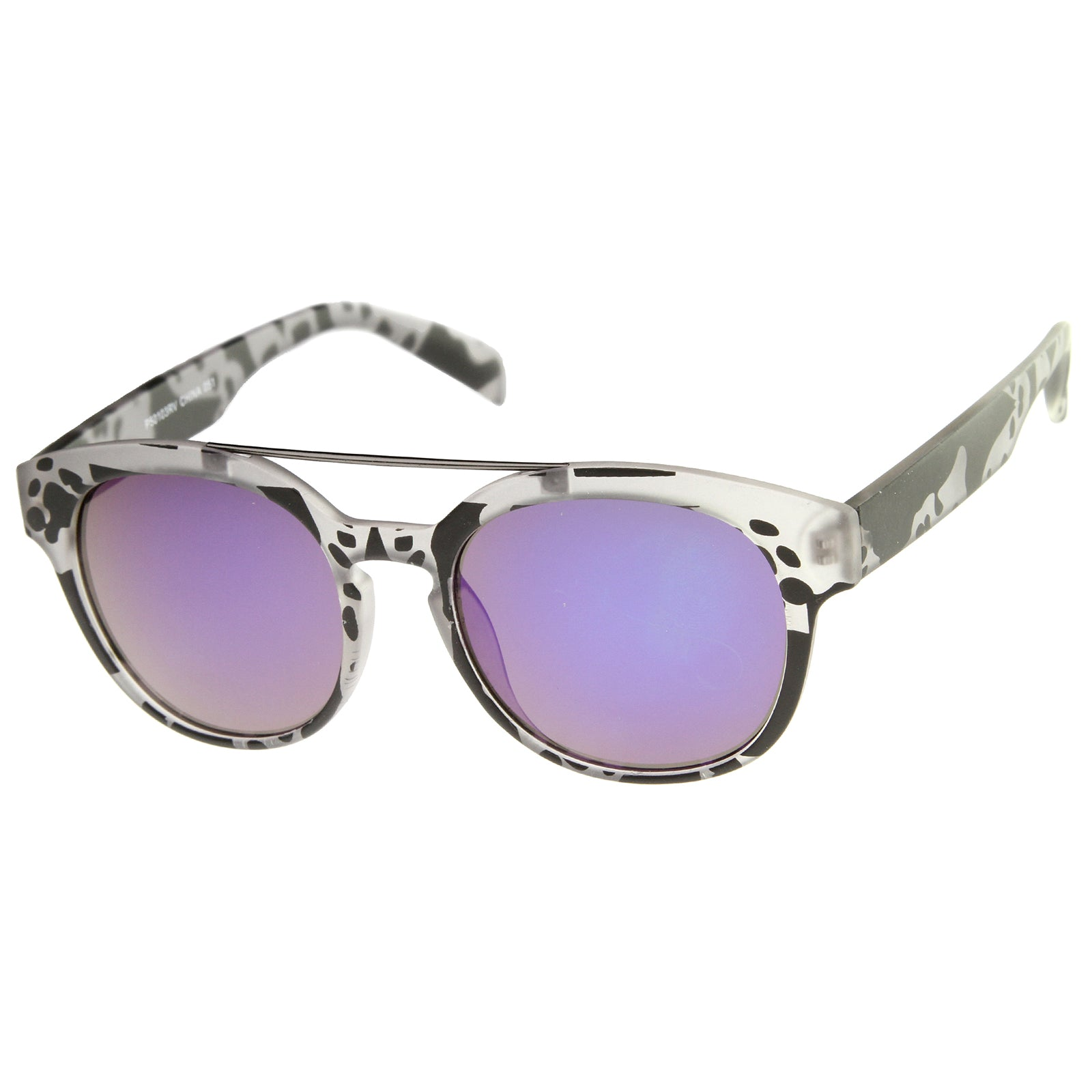 Modern Slim Metal Crossbar Iridescent Lens Horn Rimmed Sunglasses 51mm - sunglass.la - 14