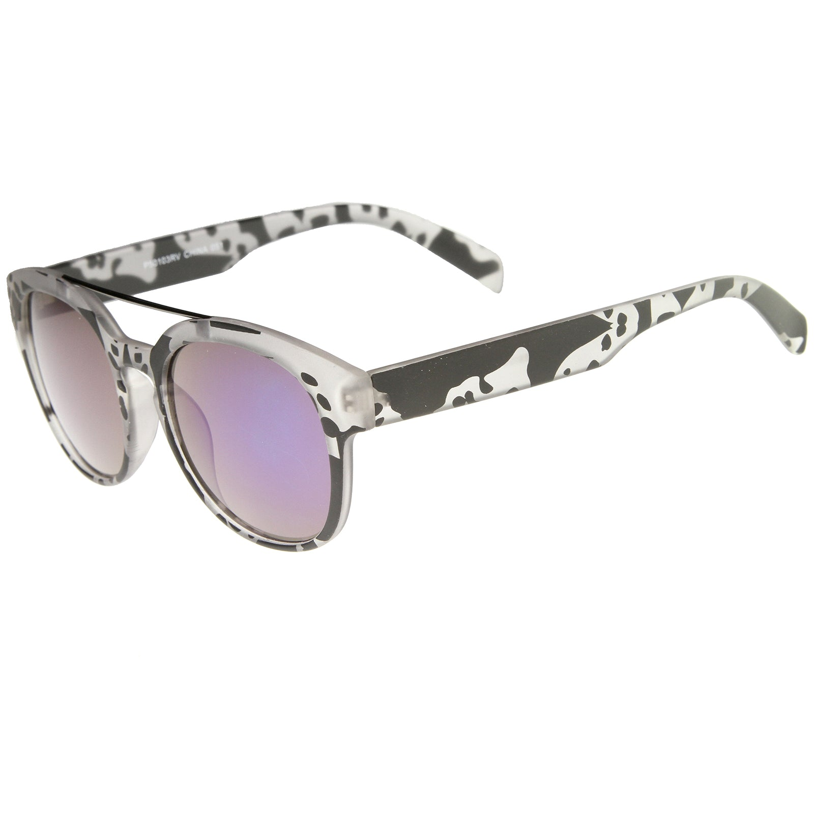 Modern Slim Metal Crossbar Iridescent Lens Horn Rimmed Sunglasses 51mm - sunglass.la - 15