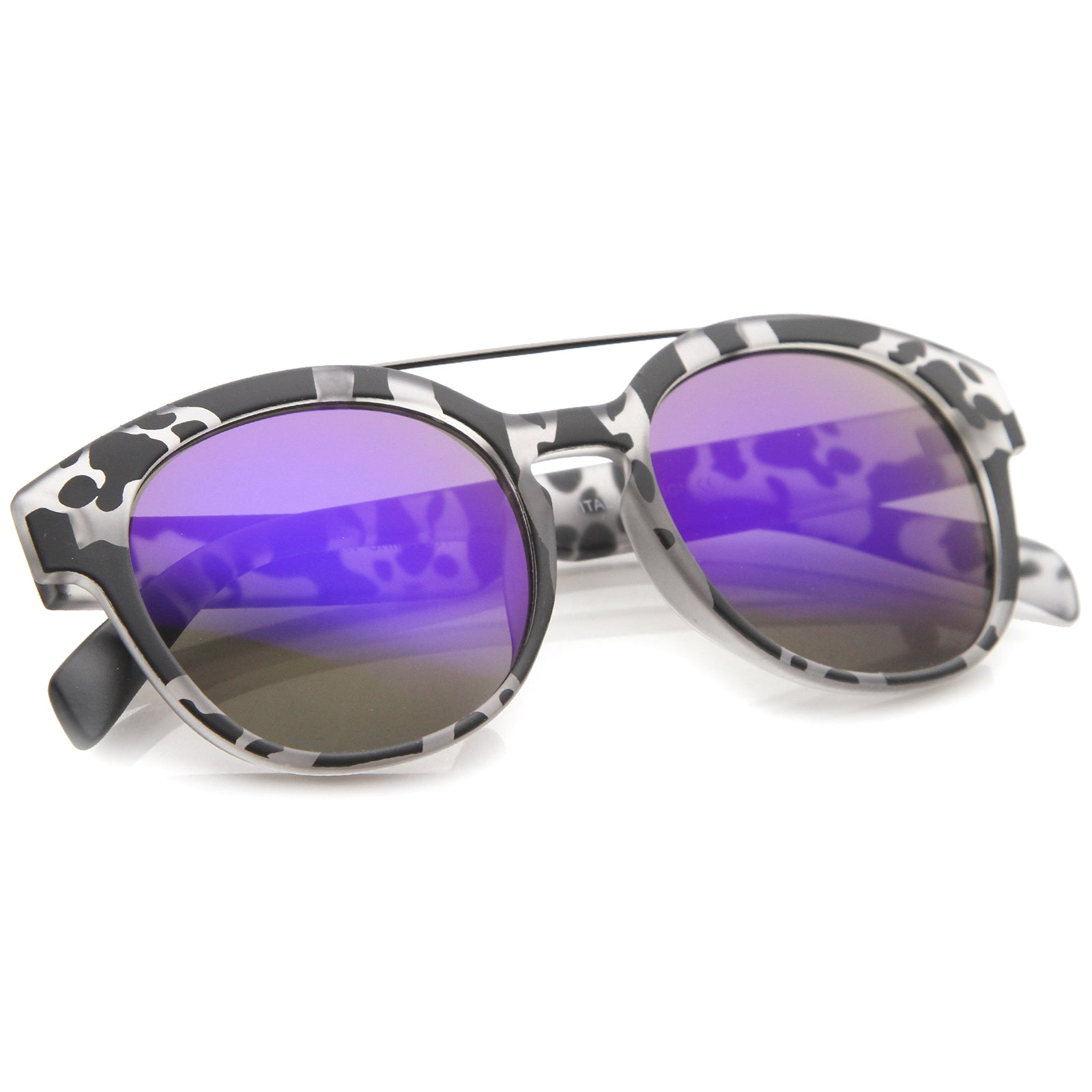 Modern Slim Metal Crossbar Iridescent Lens Horn Rimmed Sunglasses 51mm - sunglass.la - 16