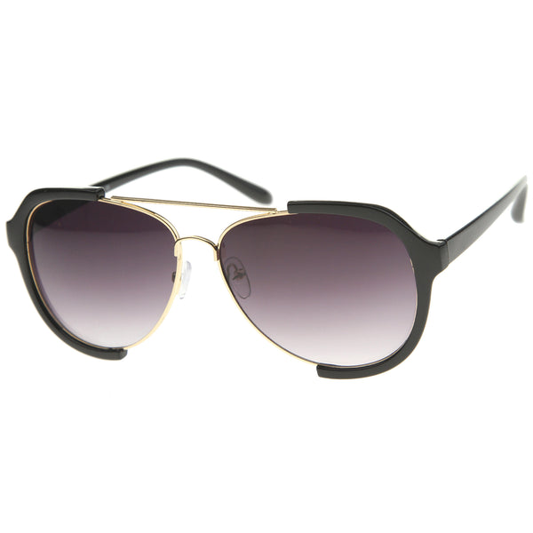 Modern Oversize Metal Crossbar Semi-Rimless Aviator Sunglasses 62mm - sunglass.la - 1