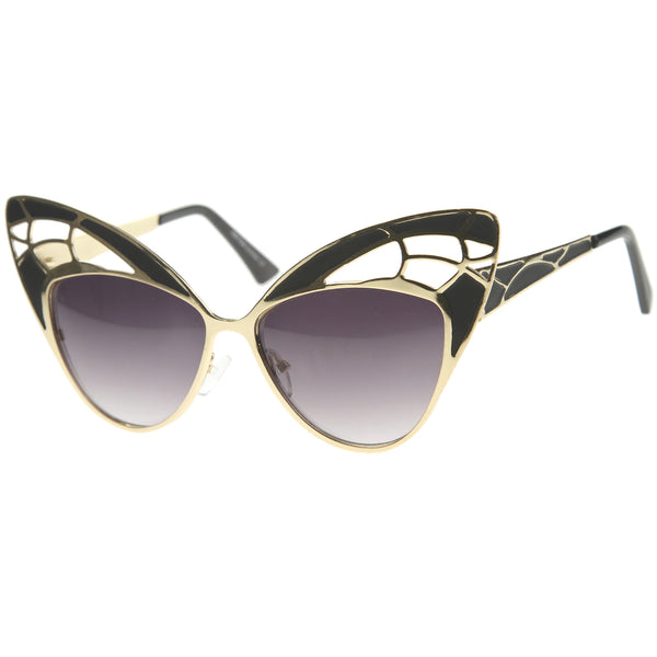 Womens High Fashion Metal Cutout Oversize Butterfly Sunglasses 55mm - sunglass.la - 1